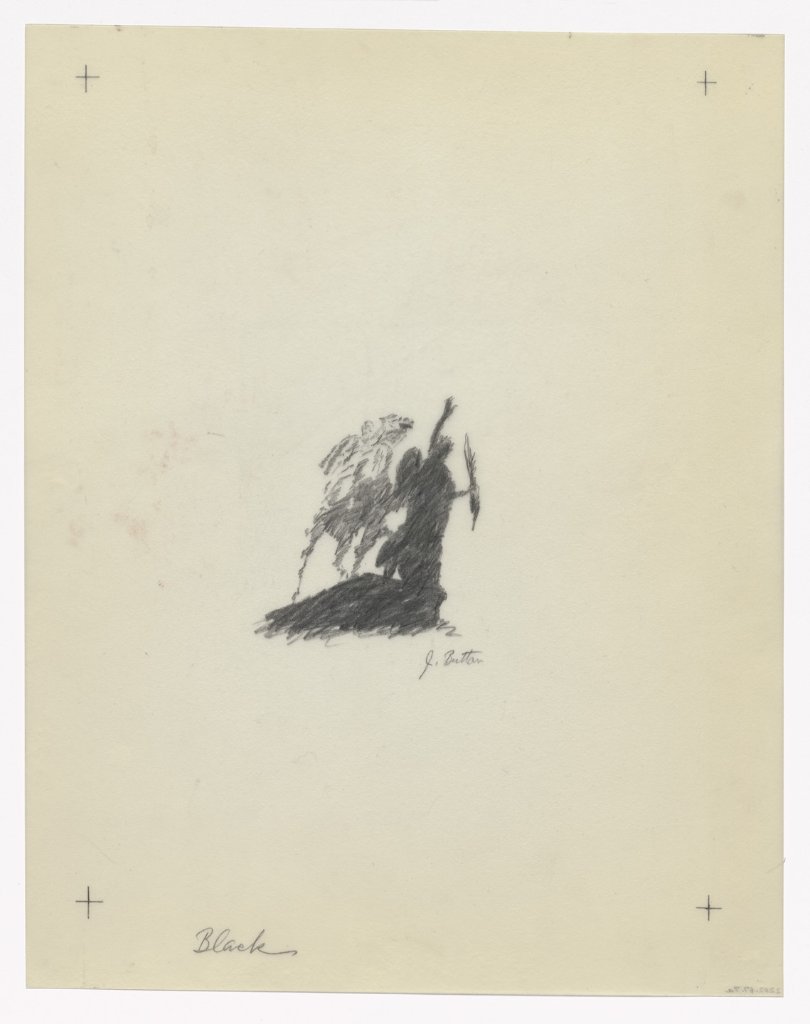 John Button. Preparatory drawing for In Memory of My Feelings. 1967