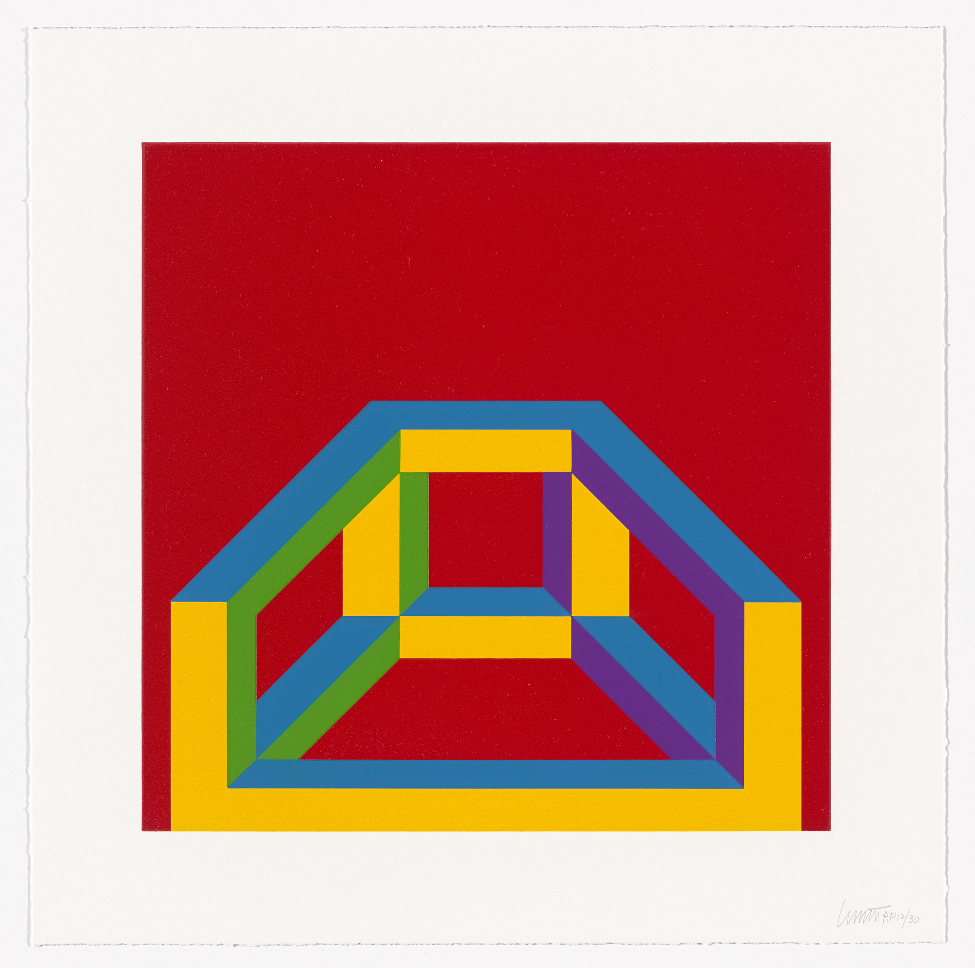 Sol LeWitt. Isometric Figure with Bars of Color. 2003