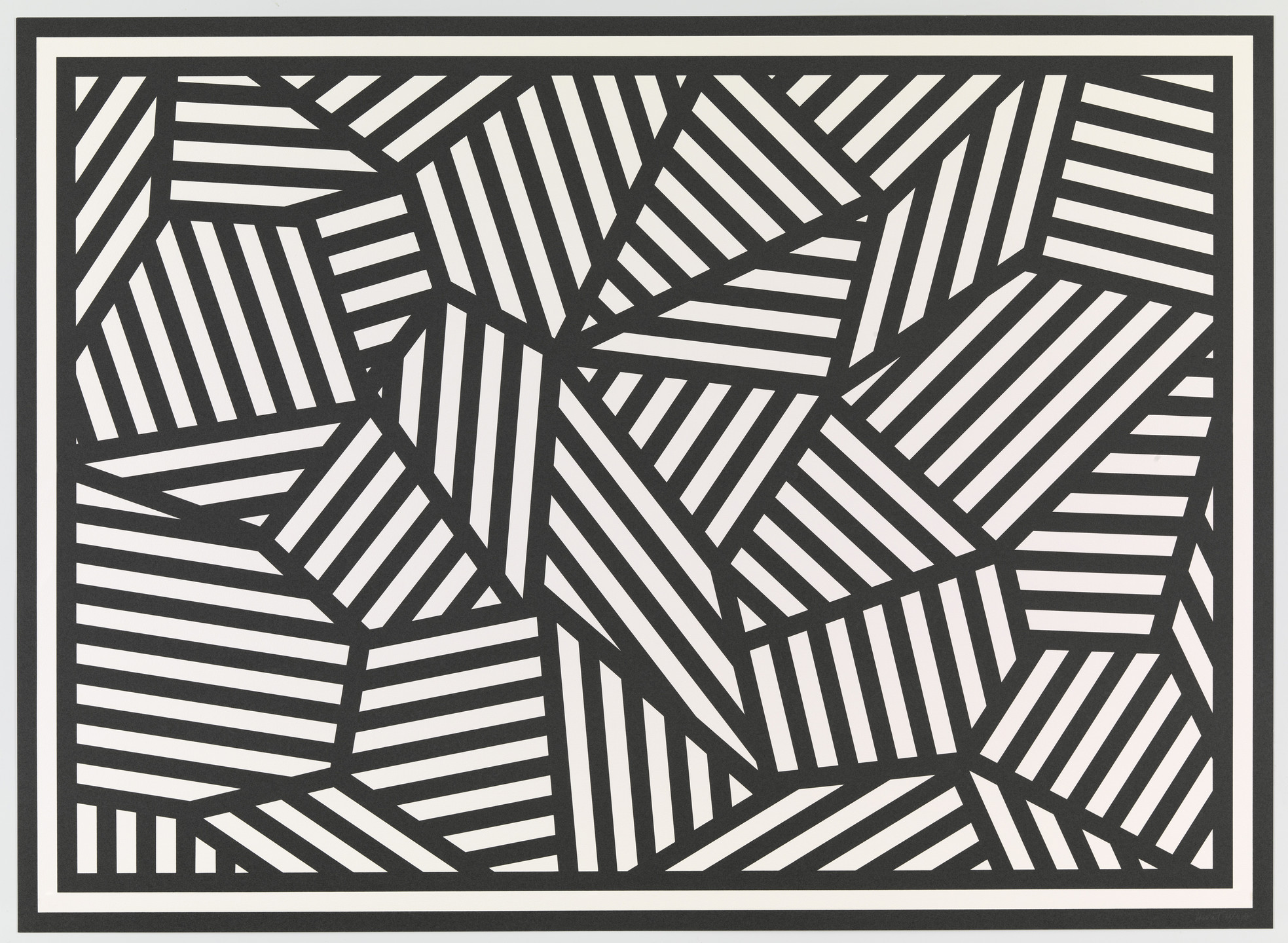Sol LeWitt. Complex Form with Black and White Bands. 1988