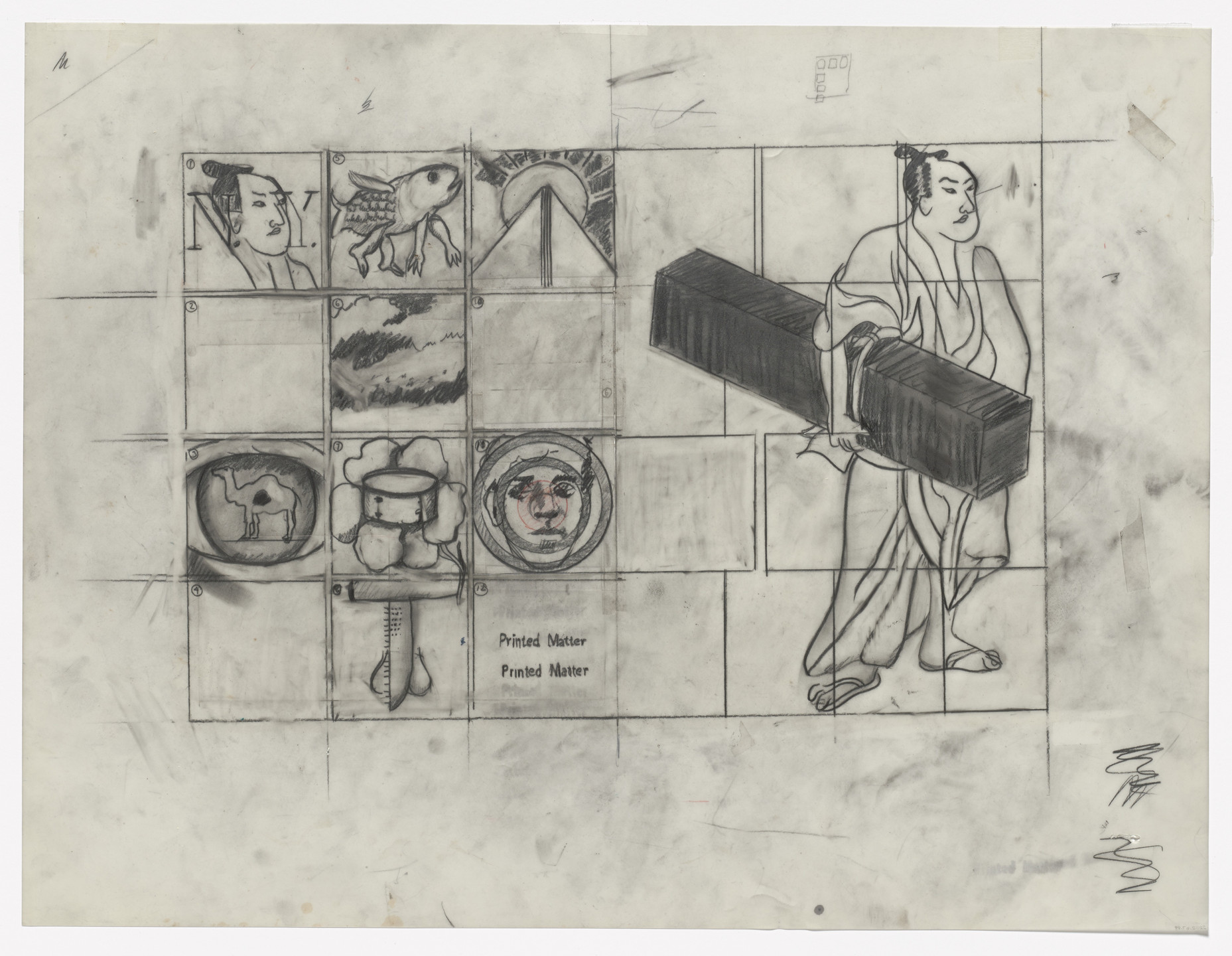 Larry Rivers. Preparatory drawing for In Memory of My Feelings. 1967