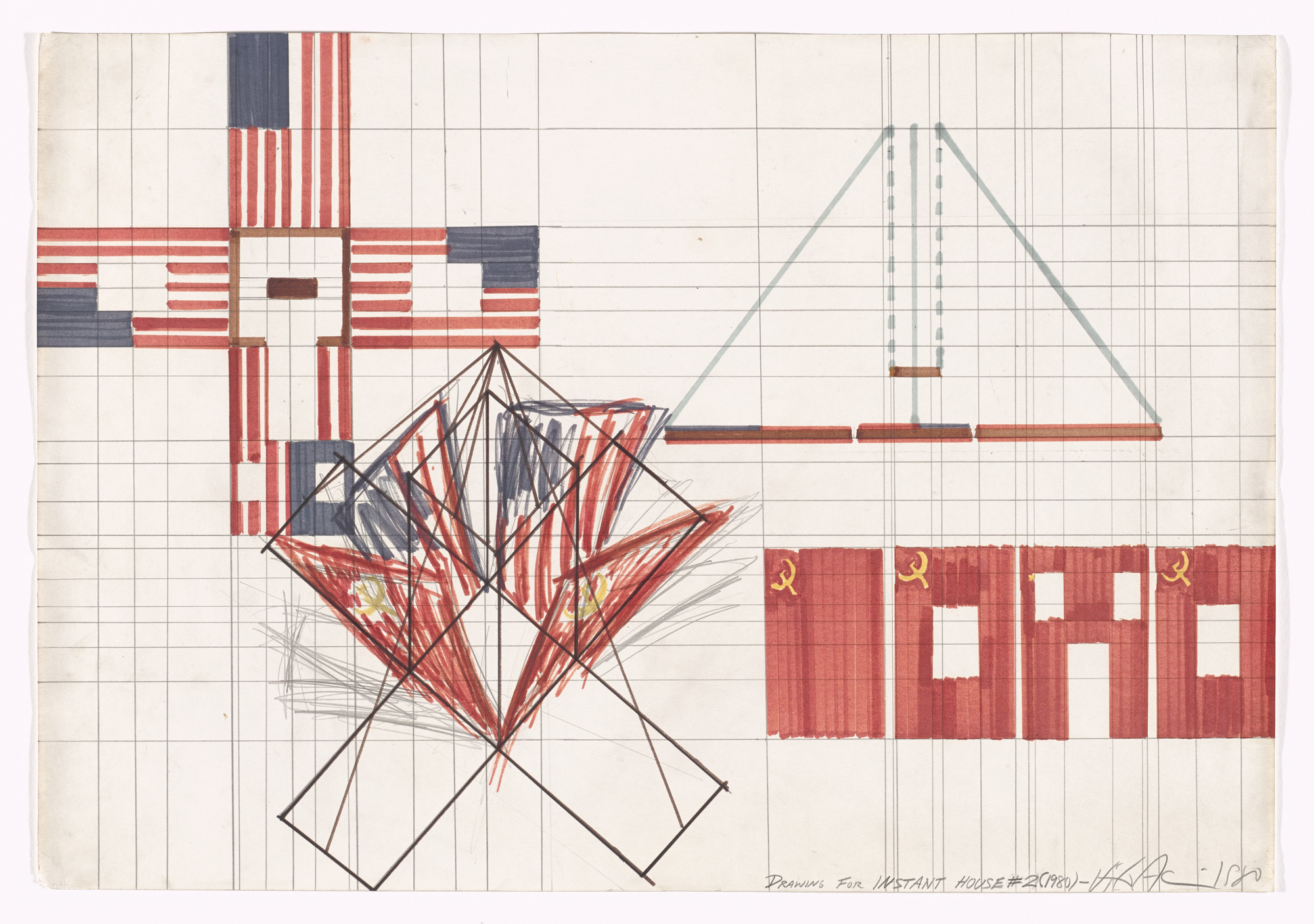 Vito Acconci. Instant House #2, Drawing. 1980