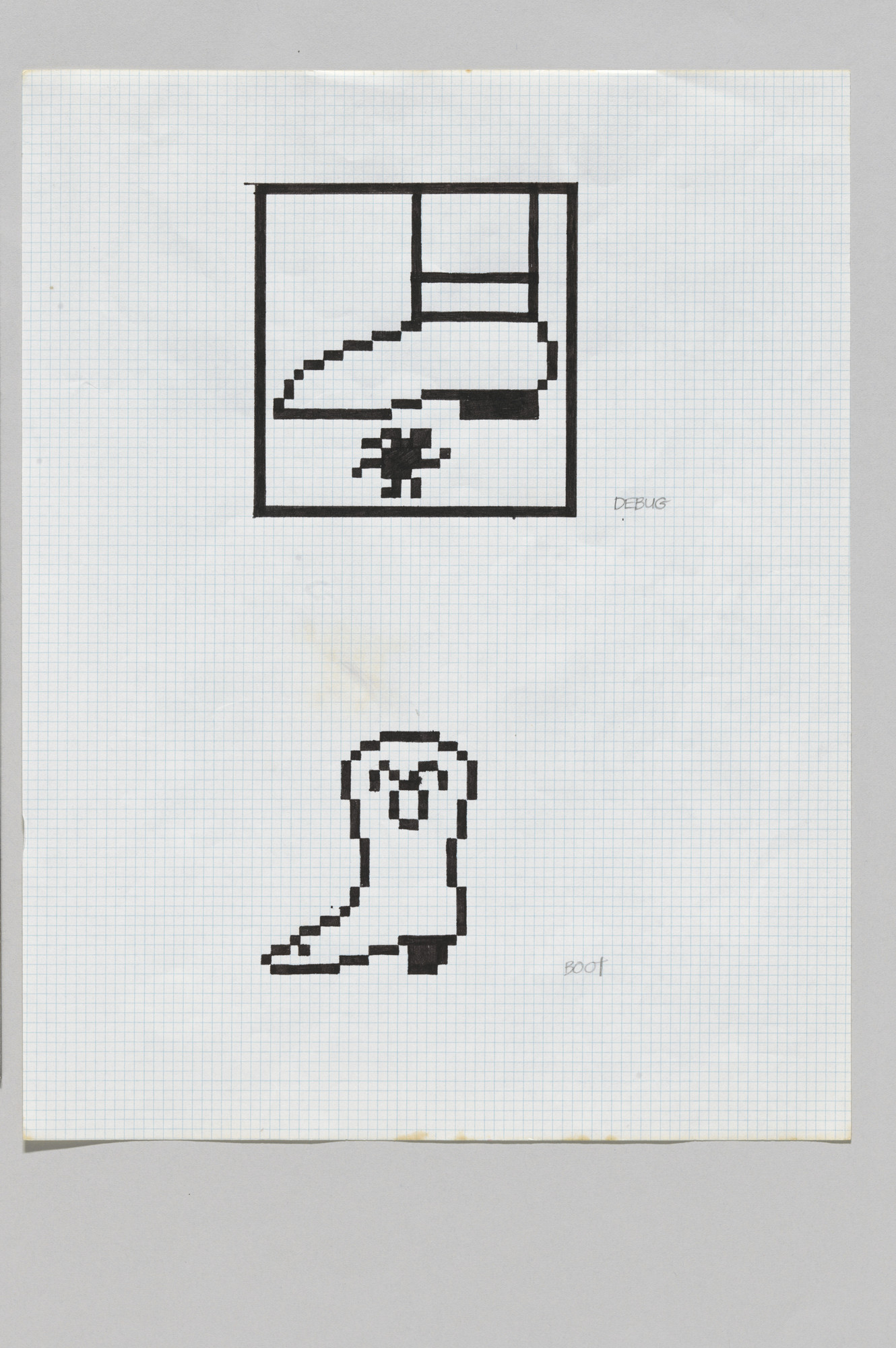 Susan Kare. Graphic icon sketch.