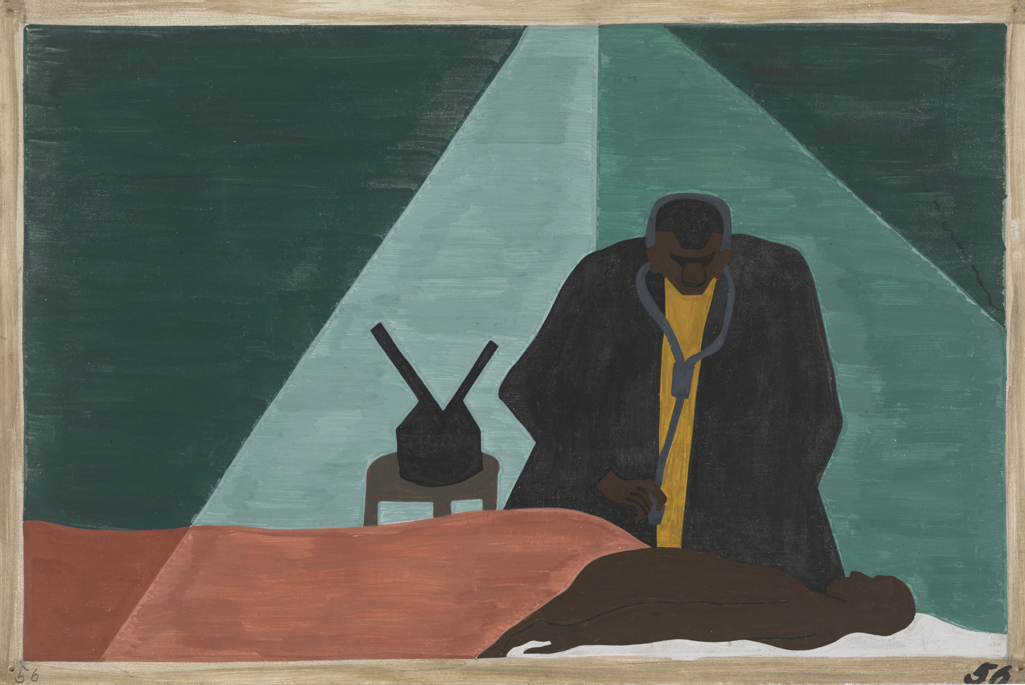 Jacob Lawrence. Among one of the last groups to leave the South was the Negro professional who was forced to follow his clientele to make a living. 1940-41