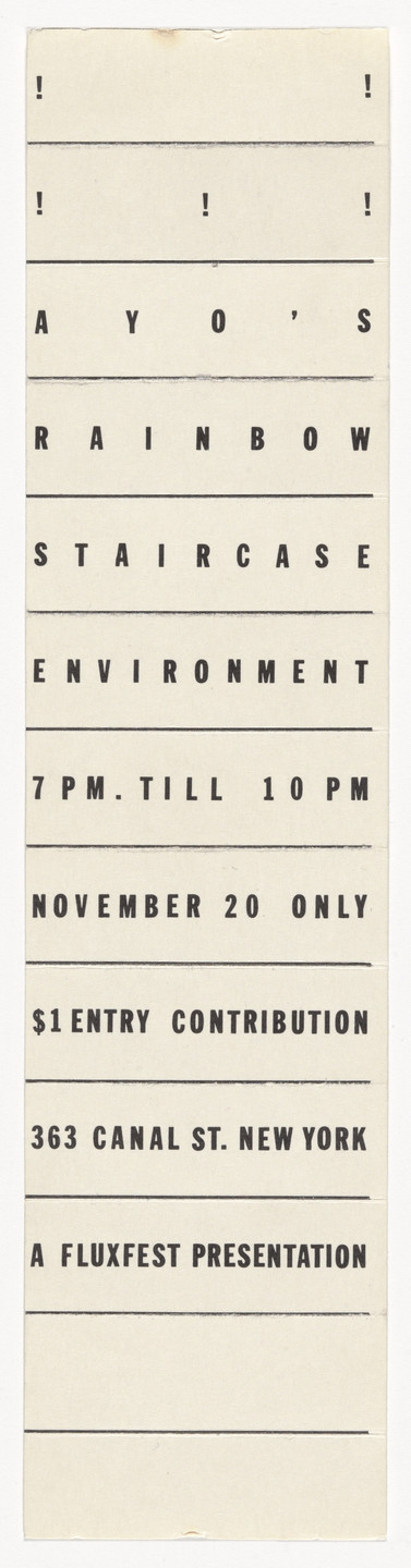 Ay-O. Invitation for Ay-O's Rainbow Staircase Environment, 363 Canal Street, New York, November 20, 1965. 1965
