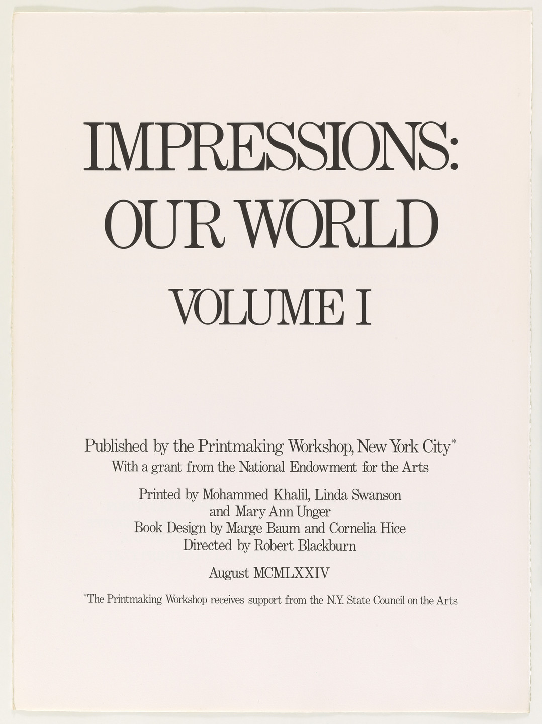 Various Artists, Emma Amos, Benny Andrews, Vivian Browne, Eldzier Cortor, Norman Lewis, Vincent Smith, John Wilson. Impressions: Our World, Volume I. 1973–74, published 1974