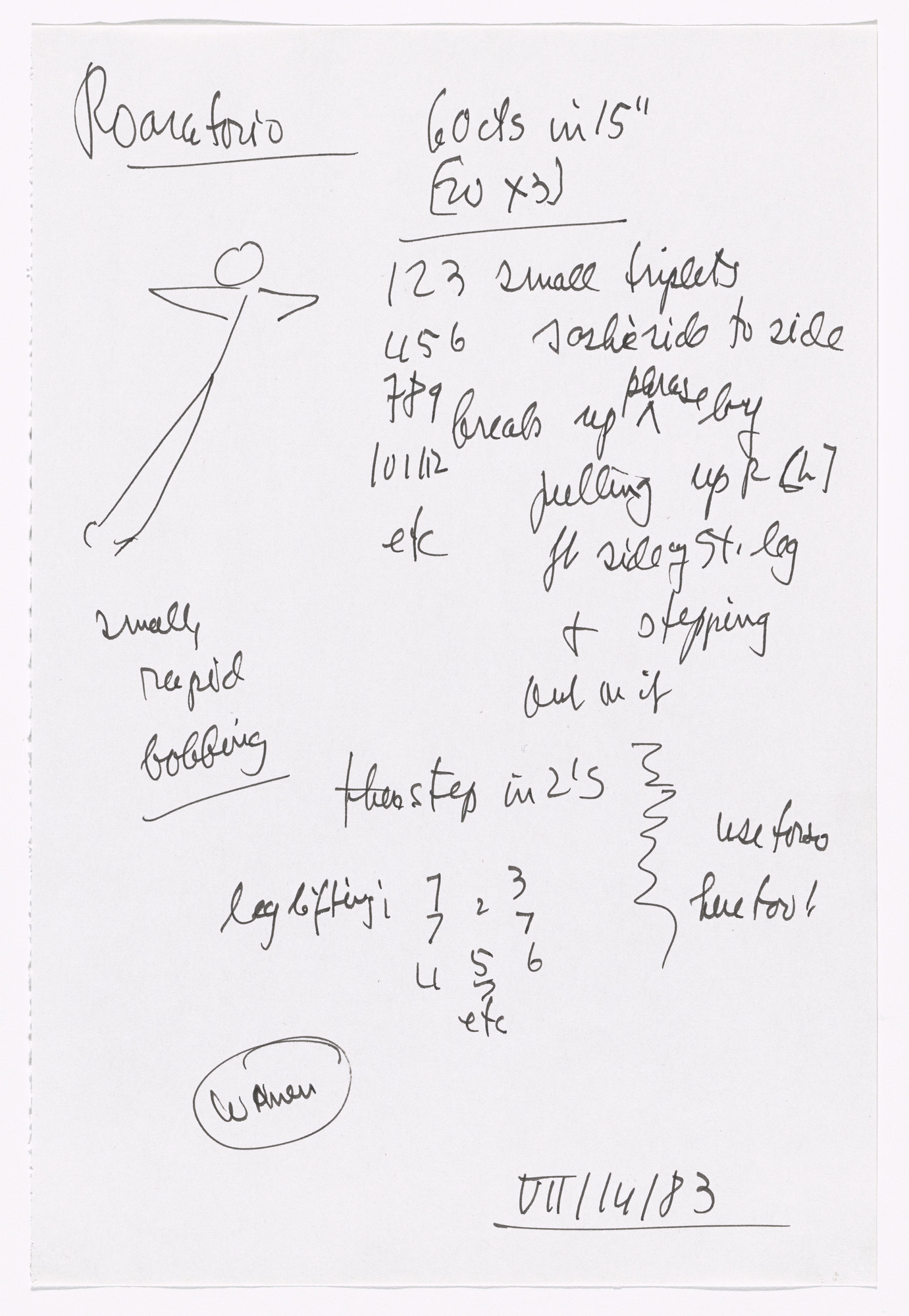 Merce Cunningham. Notes for Roaratorio. 1983