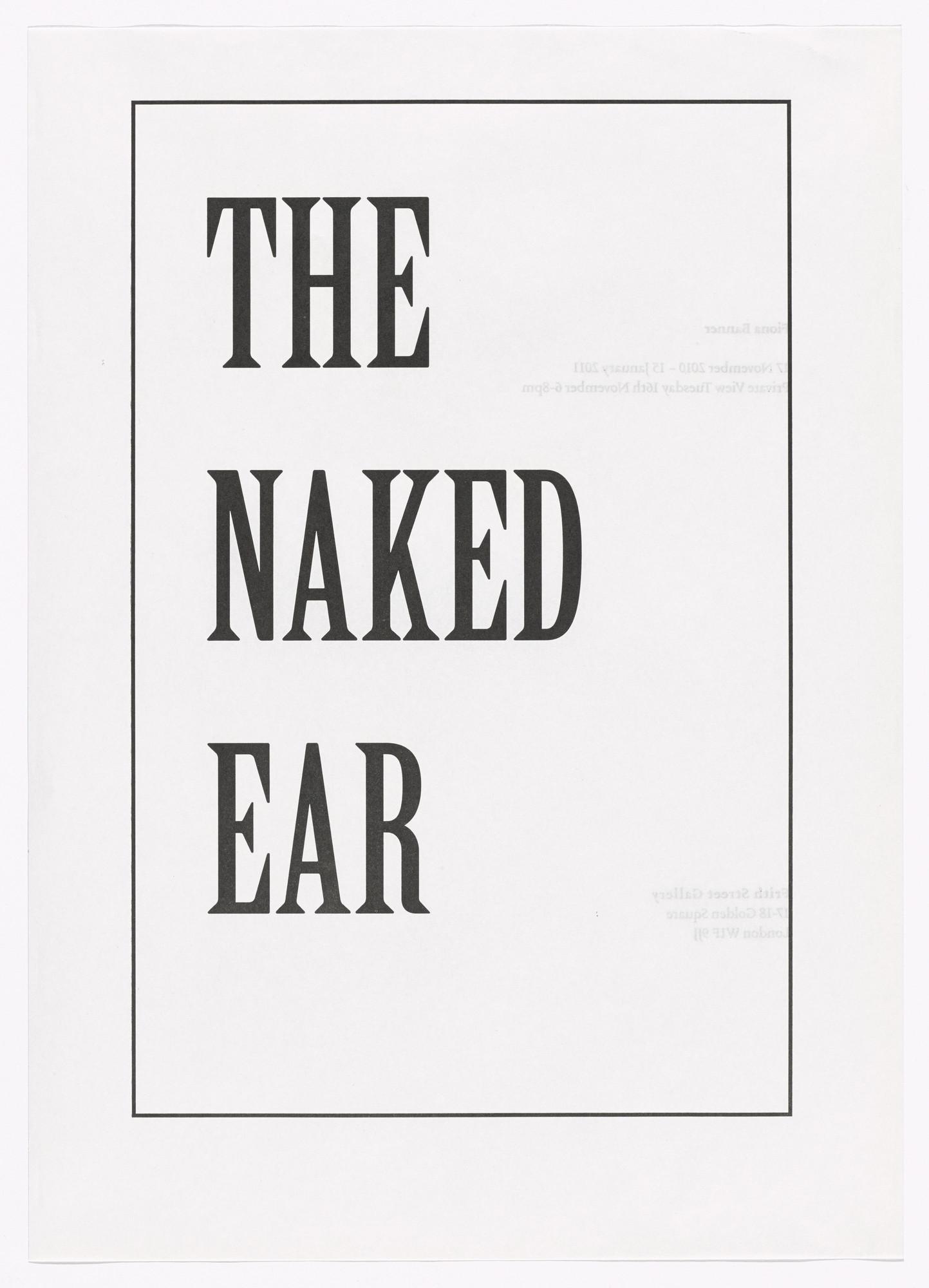 Fiona Banner. Poster for The Naked Ear. 2010