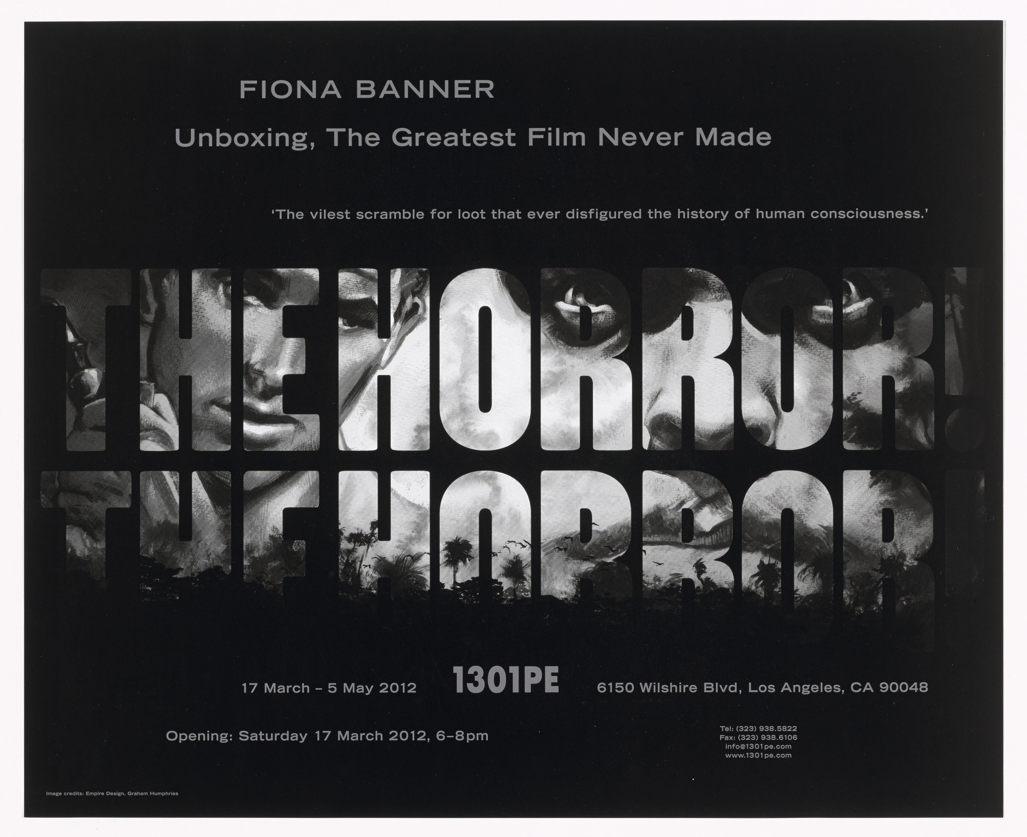Fiona Banner. Poster for The Greatest Film Never Made, 1301PE, Los Angeles, March 17–May 5, 2012. 2012