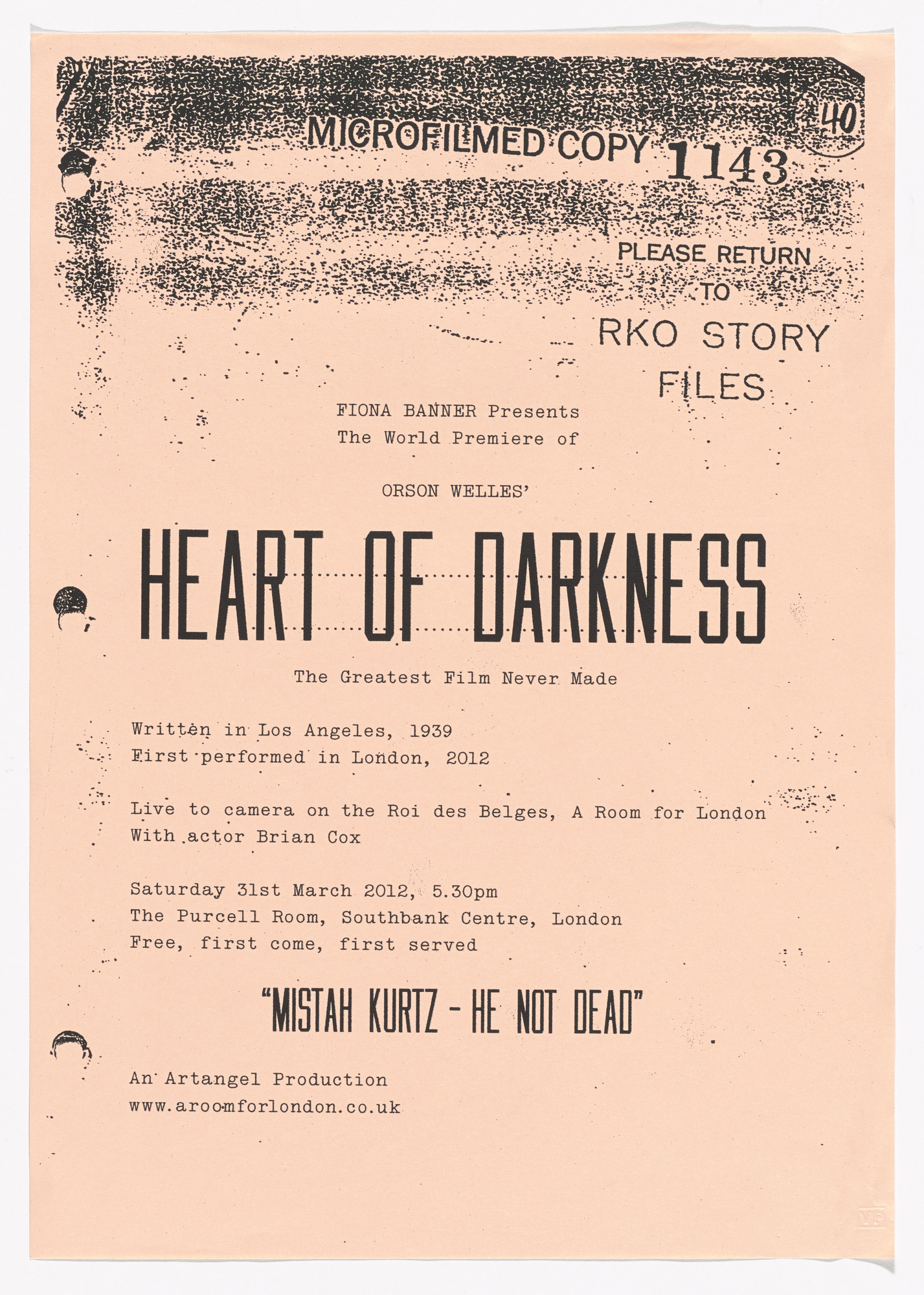Fiona Banner. Invitation for Heart of Darkness. 2012