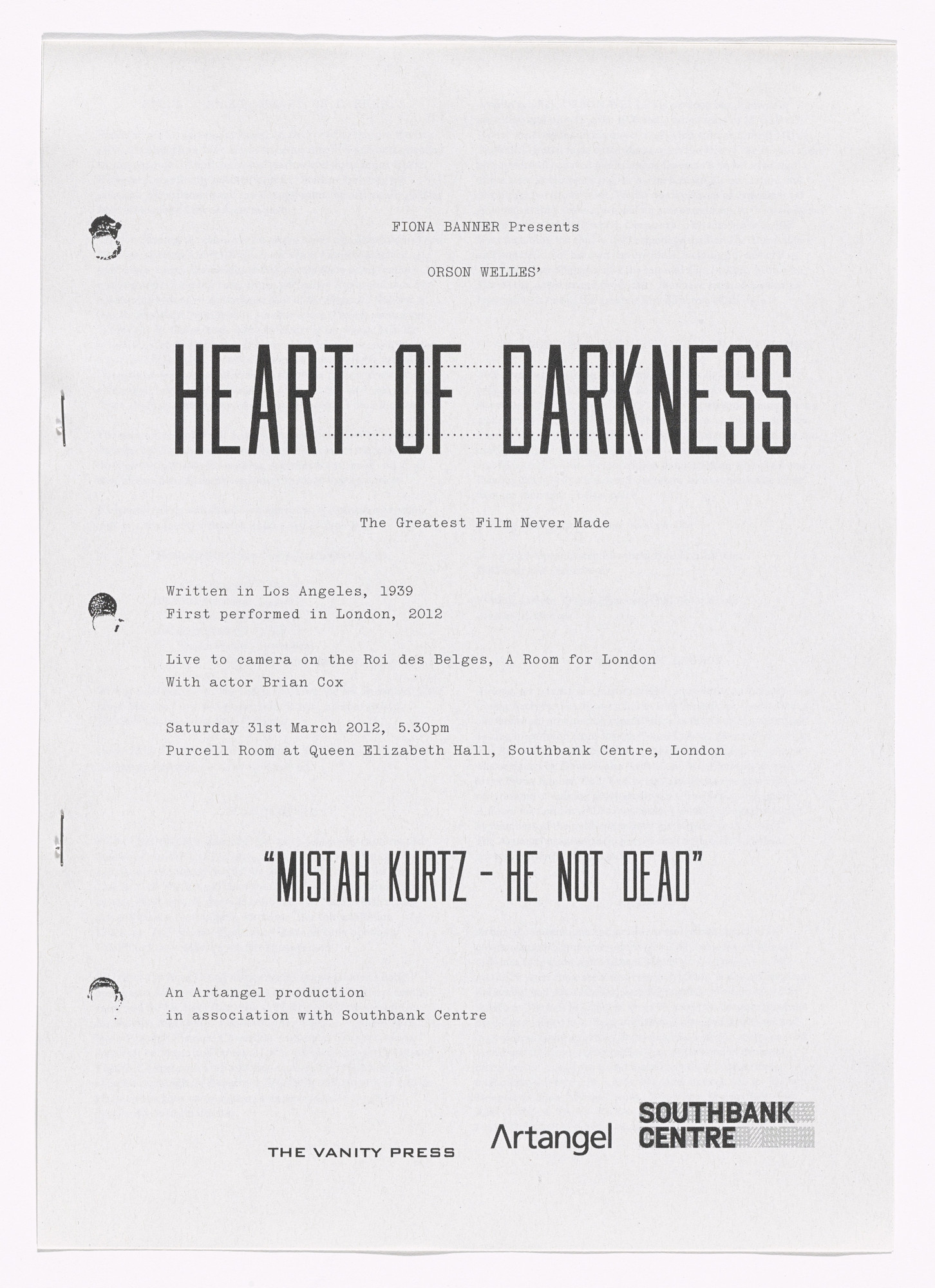 Fiona Banner. Heart of Darkness free sheet. 2012