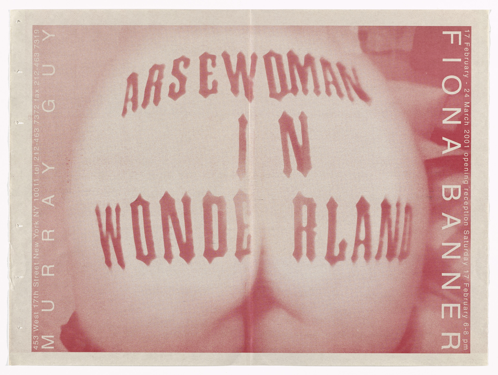 Fiona Banner. Poster for Arsewoman in Wonderland, Murray Guy Gallery, New York, February 17-March 24, 2001. 2001
