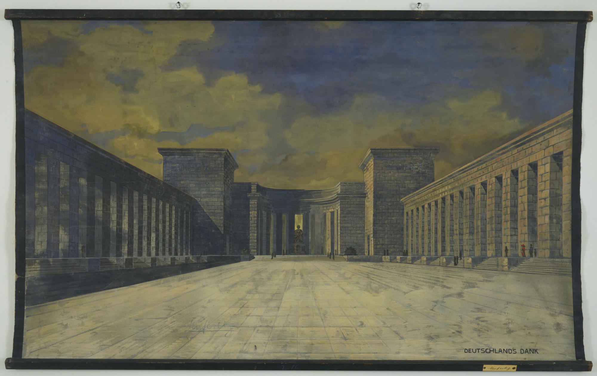 Ludwig Mies van der Rohe. Bismarck Monument, project, Bingen, Germany, Perspective view of courtyard. 1910