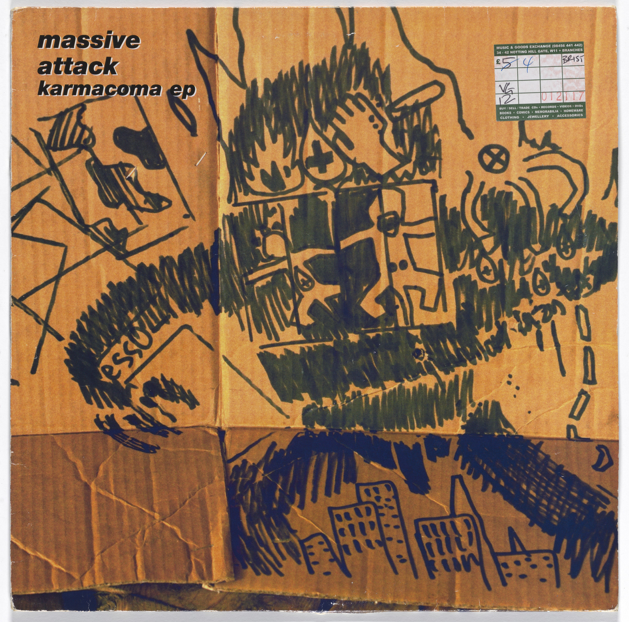 "Robert del Naja. Cover for Massive Attack 12"" single ""Karmacoma"". 1995"