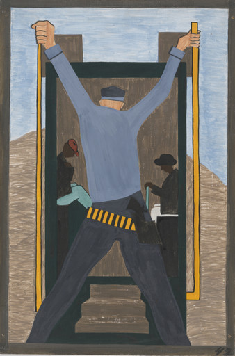 Jacob Lawrence. They also made it very difficult for migrants leaving the South. They often went to railroad stations and arrested the Negroes wholesale, which in turn made them miss their train. 1940-41