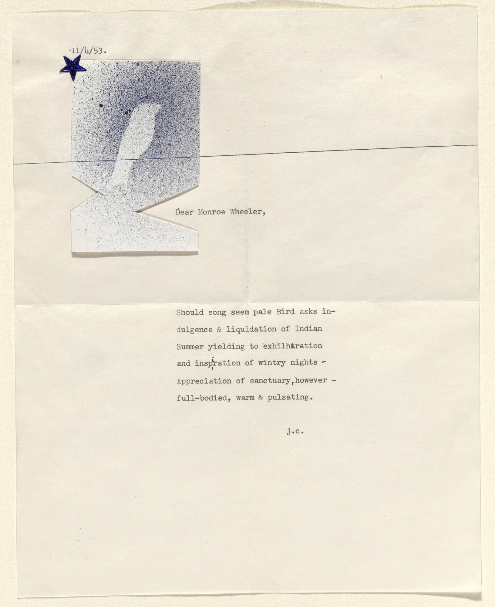 Joseph Cornell. Constellation (Poem and collage for a Christmas card). 1953
