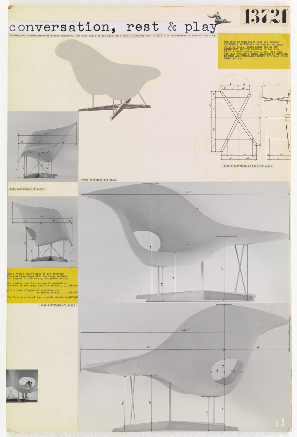 Charles Eames, Ray Eames. Entry Panel for MoMA International Competition for Low-Cost Furniture Design (La Chaise). 1949