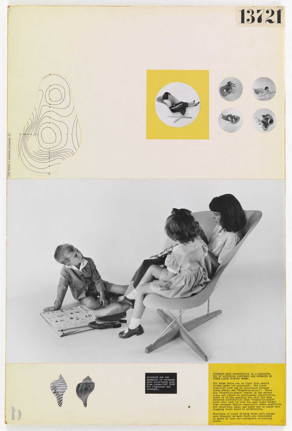 Charles Eames, Ray Eames. Entry Panel for MoMA International Competition for Low-Cost Furniture Design (La Chaise). c. 1950