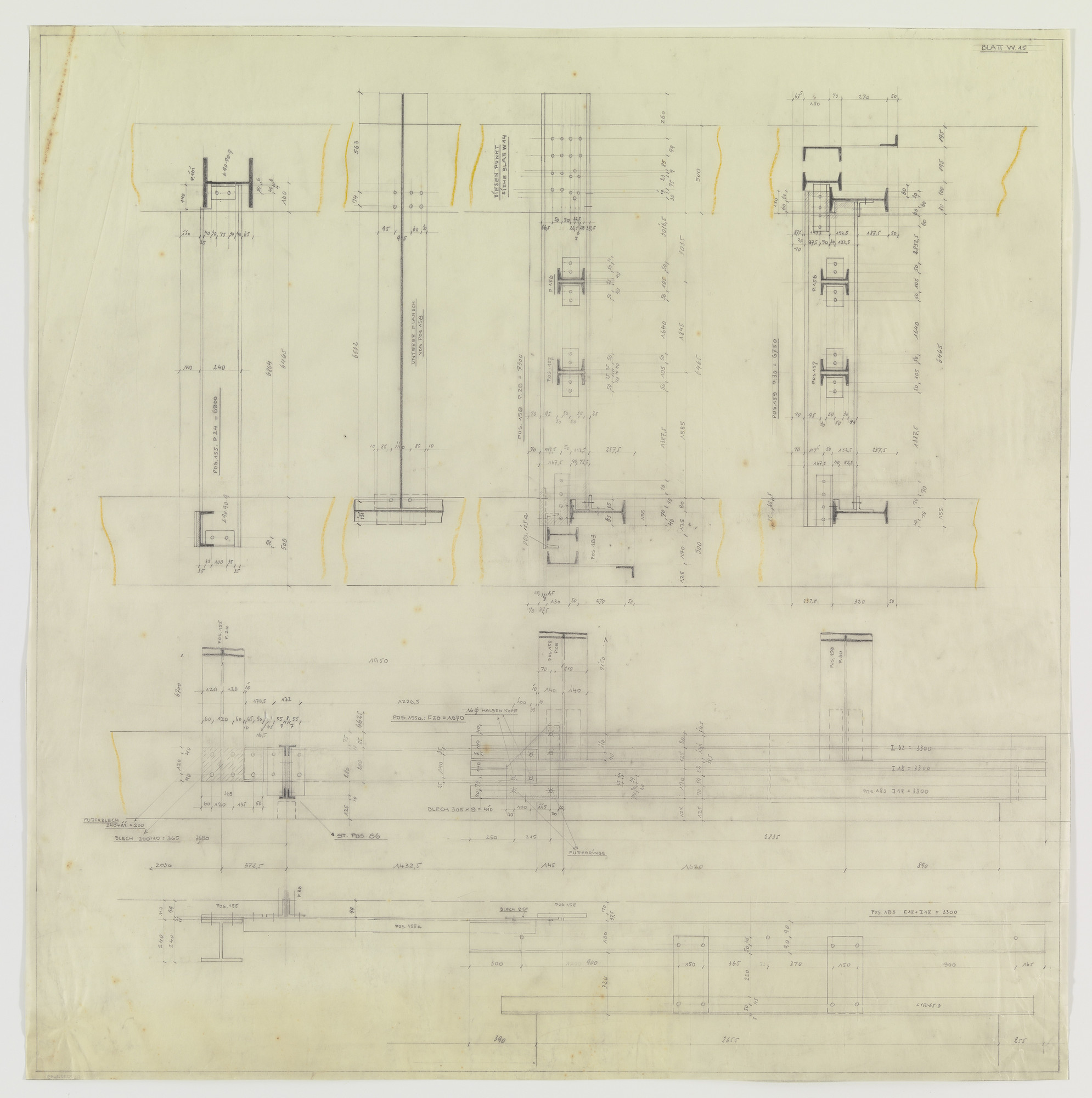 Ludwig Mies van der Rohe. Hermann Lange House, Krefeld, Germany (Framing system. Joining detail sections.). c.1927-1930 | MoMA