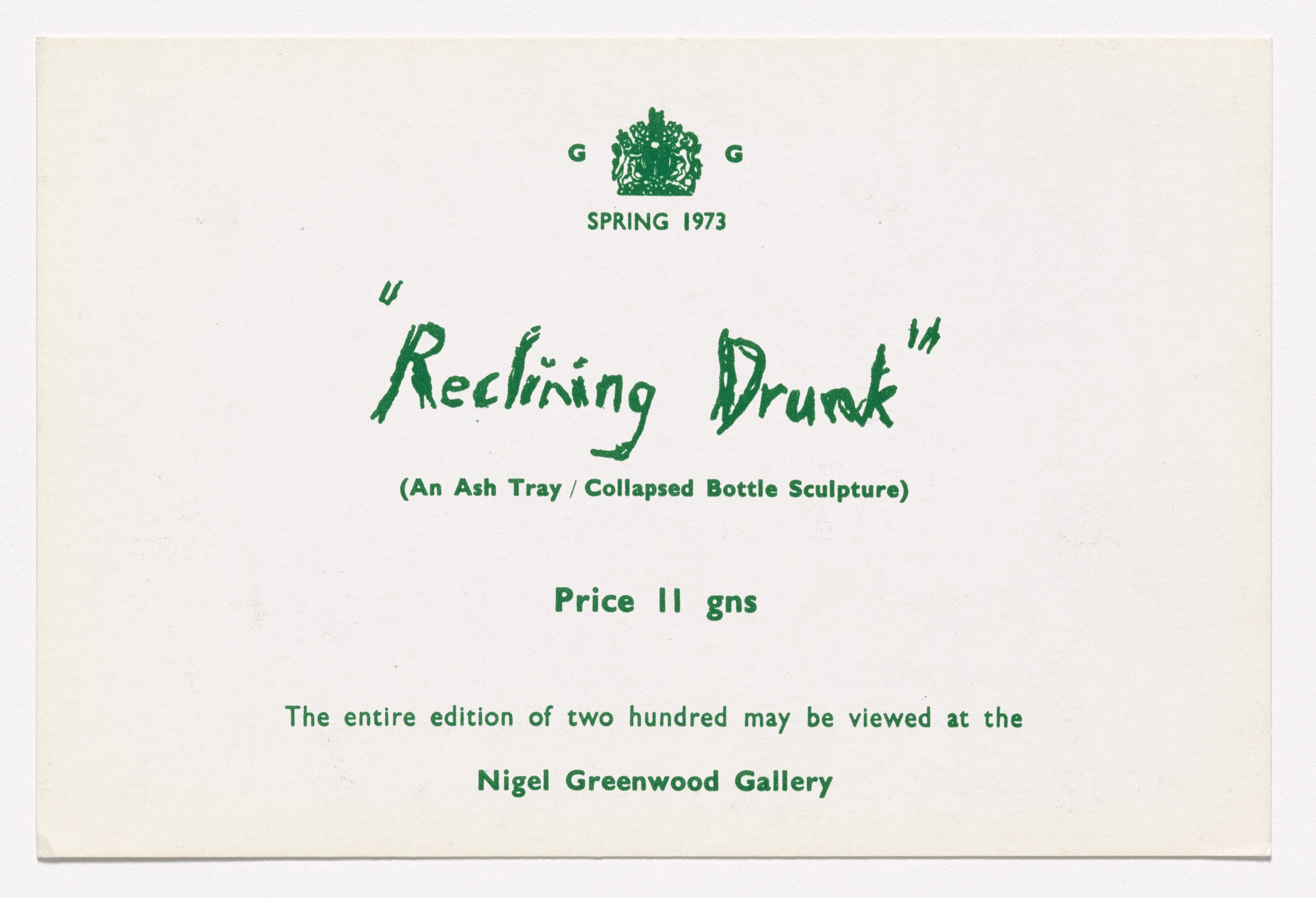 Gilbert & George. Announcement card for Reclining Drunk. 1973