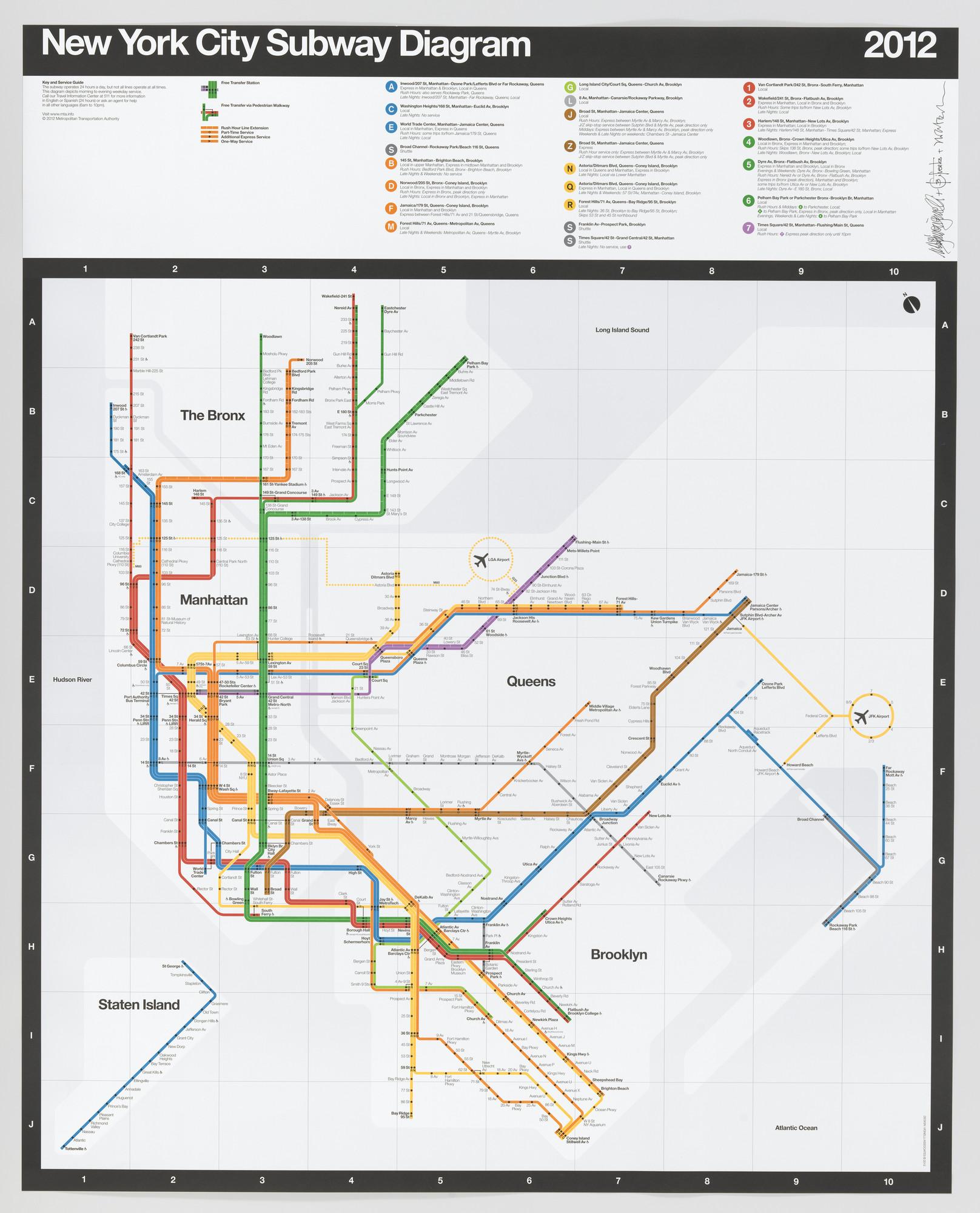 Nyc Subway Map By Vignelli.Massimo Vignelli Beatriz Cifuentes Yoshiki Waterhouse New York
