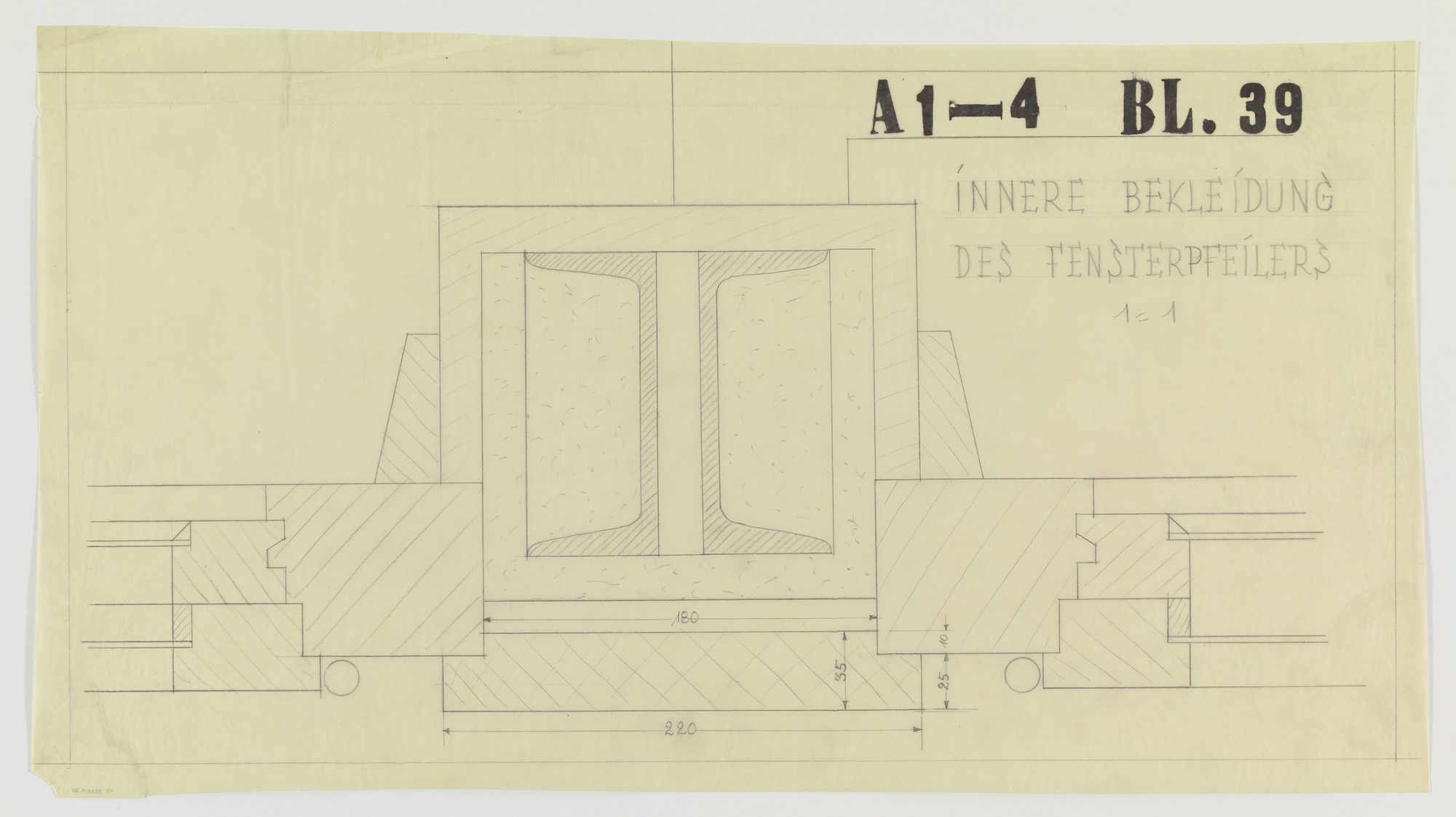 "Ludwig Mies van der Rohe. Weissenhof Apartment House, ""The Dwelling"" Exhibition, Stuttgart, Germany (Section, inner core of window pillar). 1926-1927"