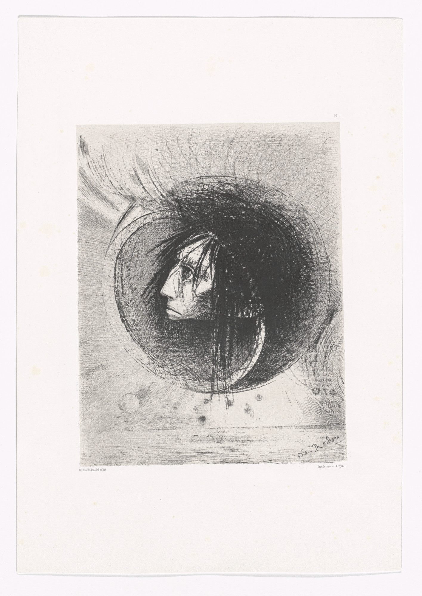 Odilon Redon. Blossoming (Éclosion) from In the Dream (Dans le rêve). 1879