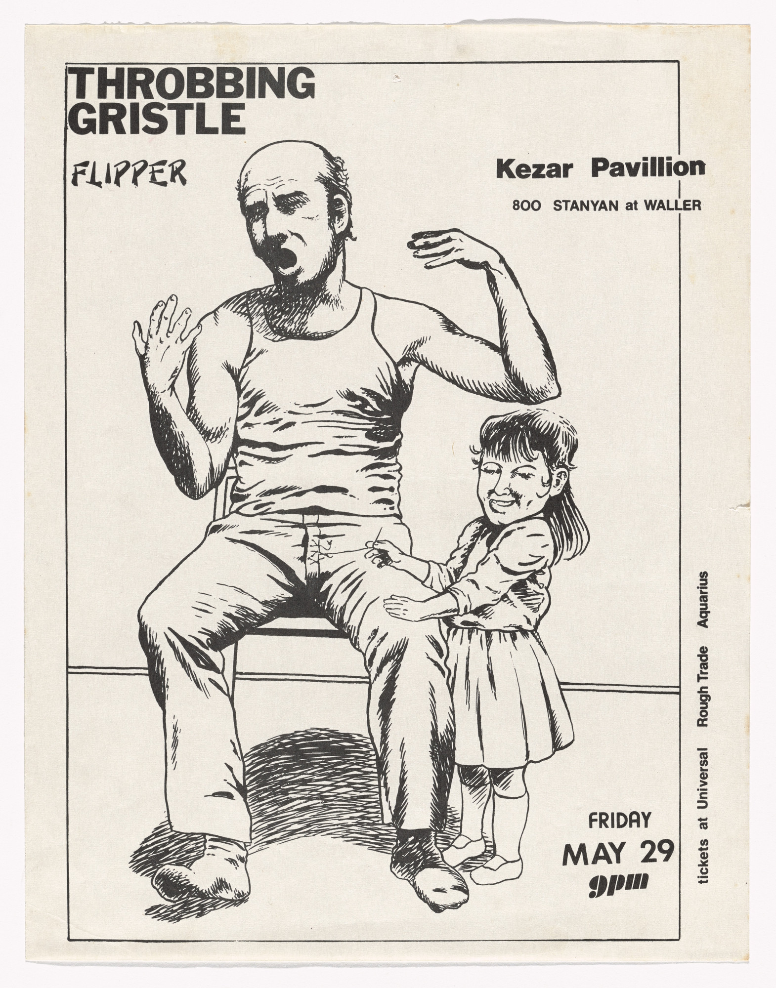 Raymond Pettibon. Throbbing Gristle at Kesar Pavilion. May 29, 1980