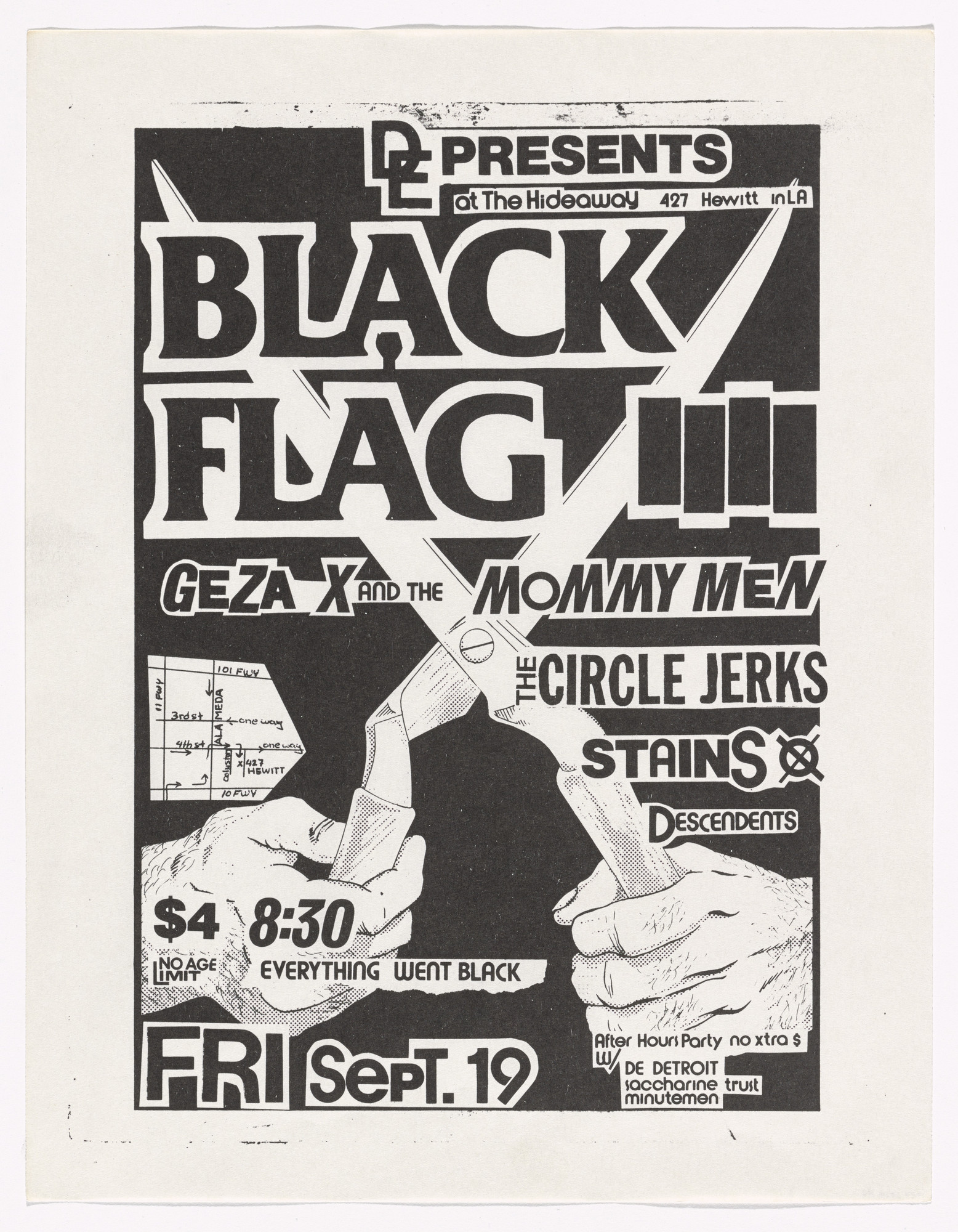 Raymond Pettibon. Black Flag at Hideaway. September 19, 1980