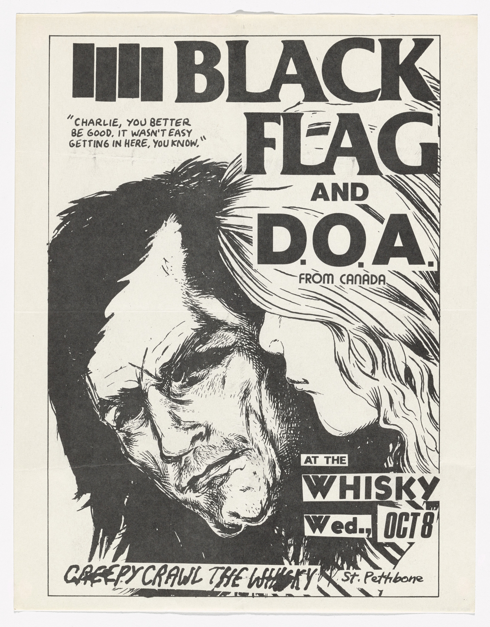 Raymond Pettibon. Black Flag and D.O.A. at Whisky. October 8, 1980