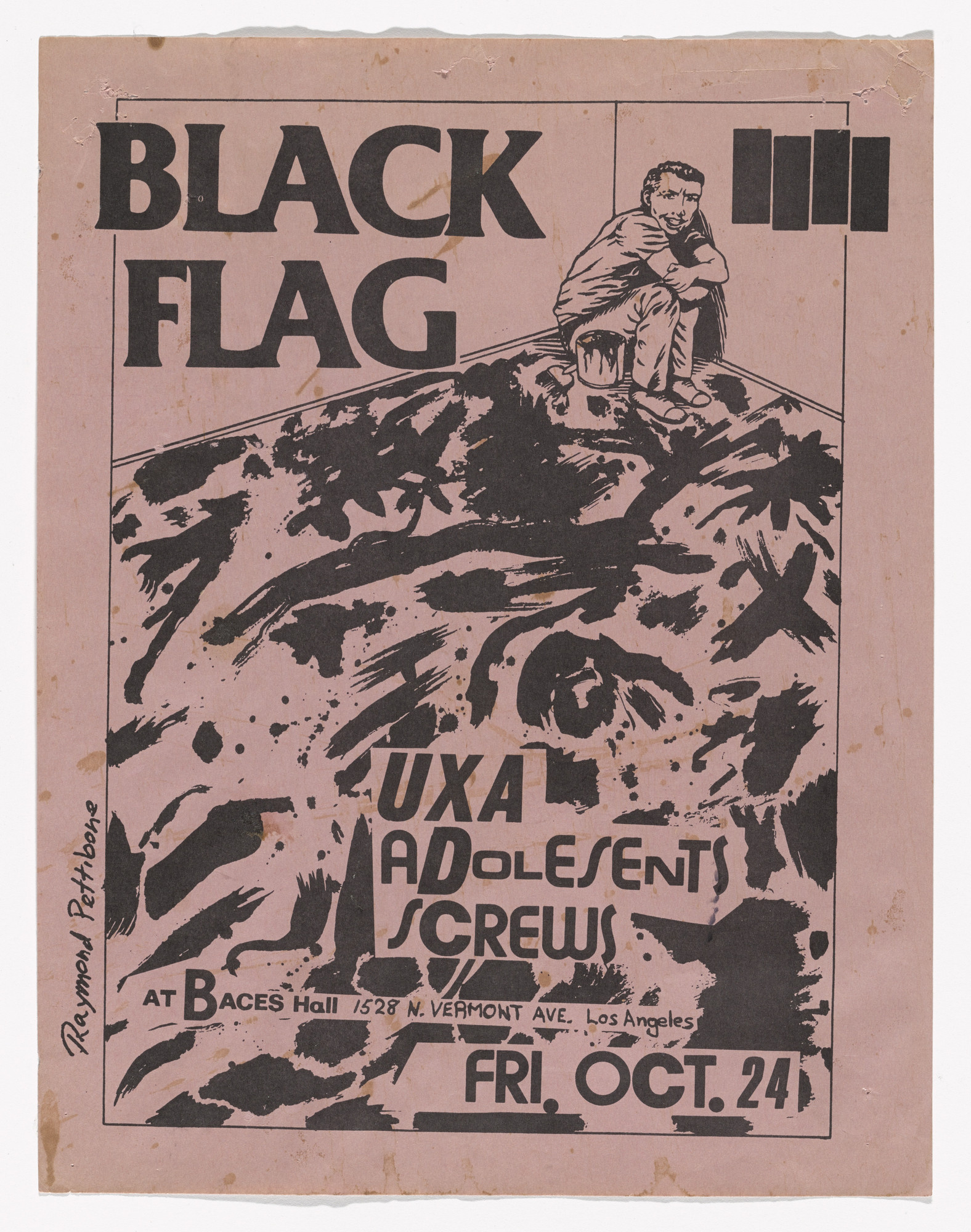 Raymond Pettibon. Black Flag at Baces Hall. October 24, 1980