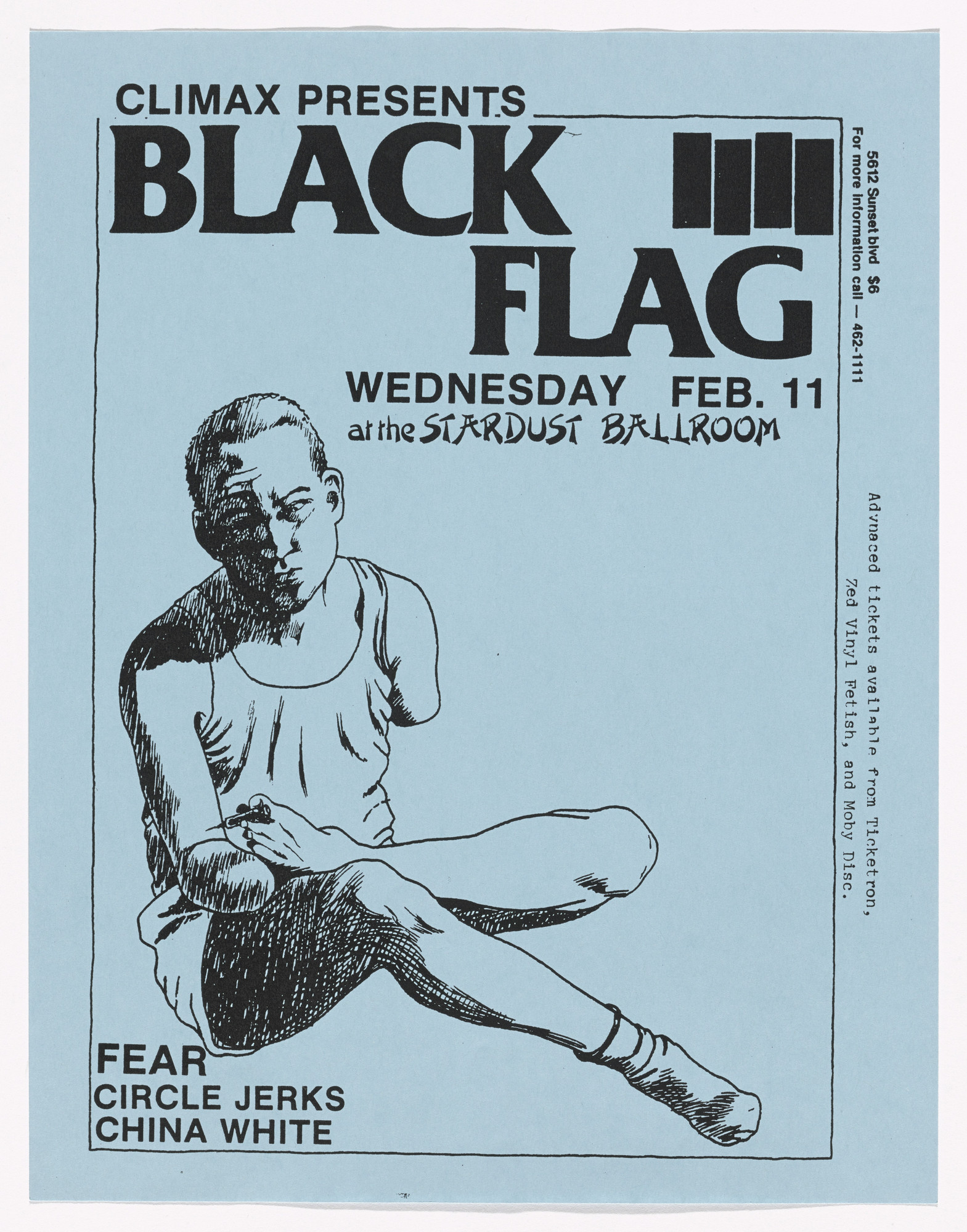 Raymond Pettibon. Black Flag at Stardust Ballroom. February 11, 1981
