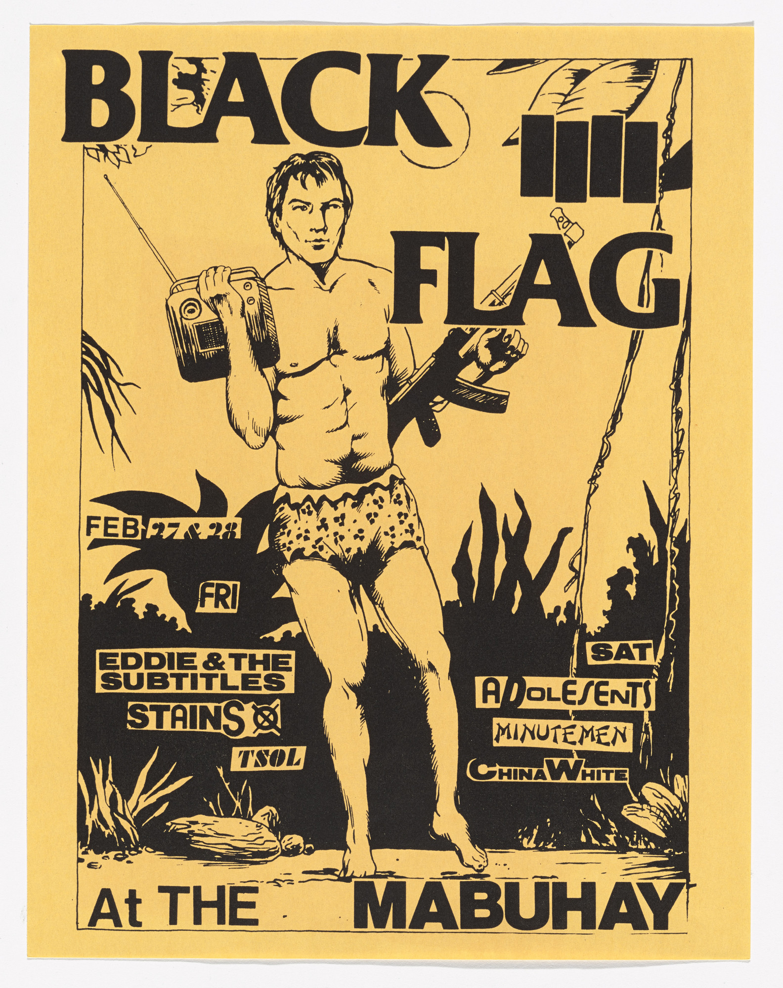 Raymond Pettibon. Black Flag at the Mabuhay. February 27 and 29, 1981