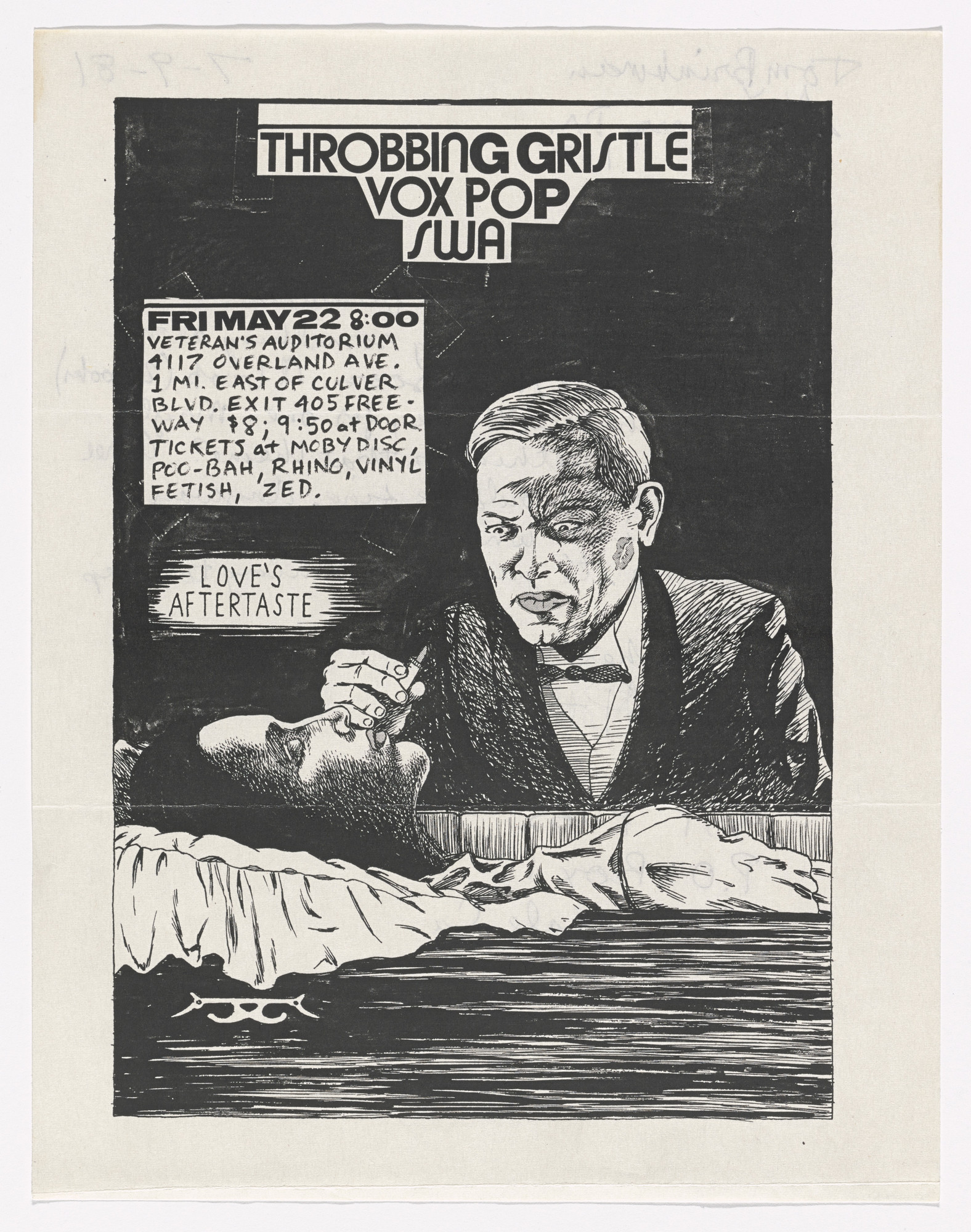 Raymond Pettibon. Throbbing Gristle at Veteran's Auditorium. May 22, 1981