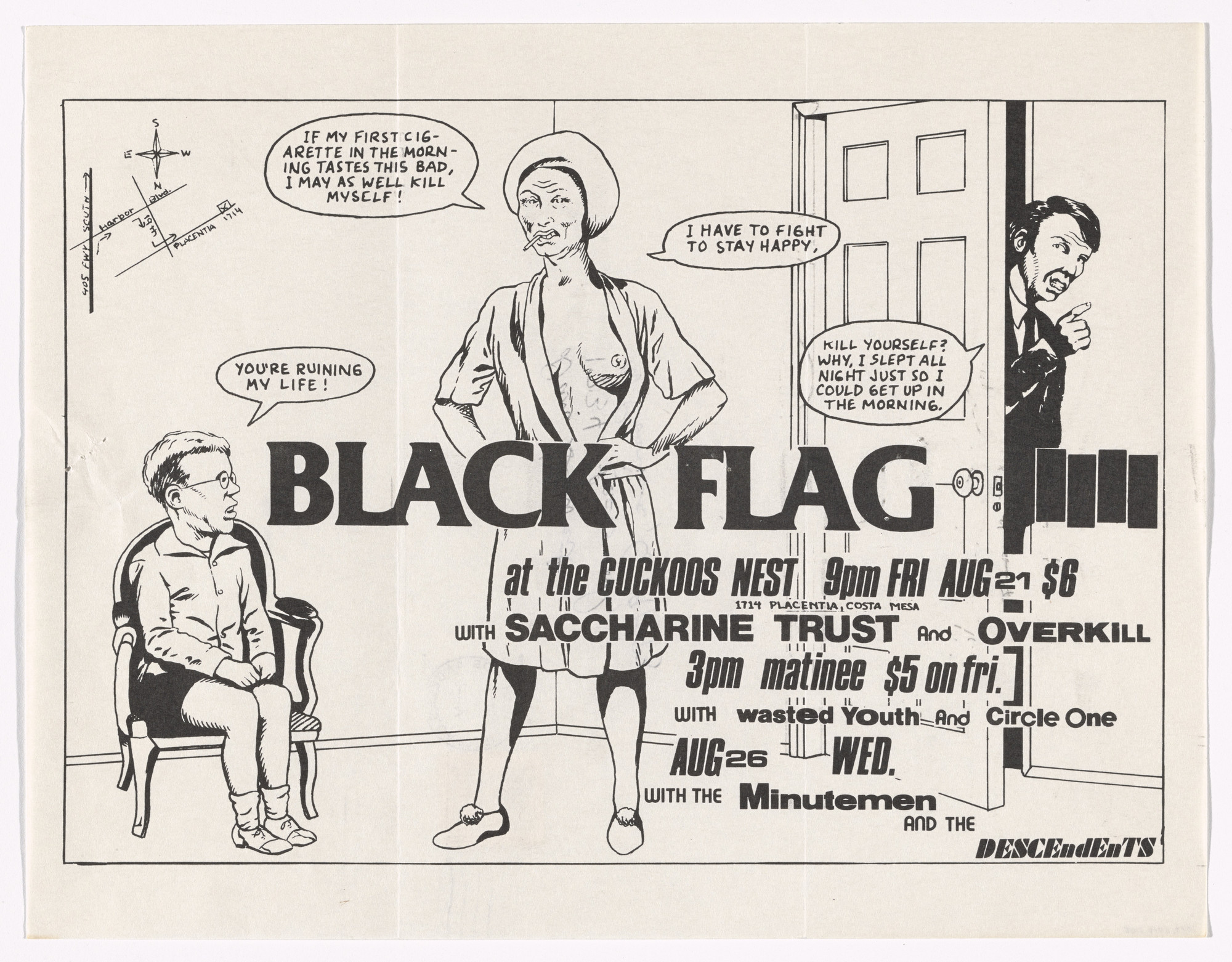 Raymond Pettibon, Circle One. Black Flag at Cuckoos Nest. August 21, 1981