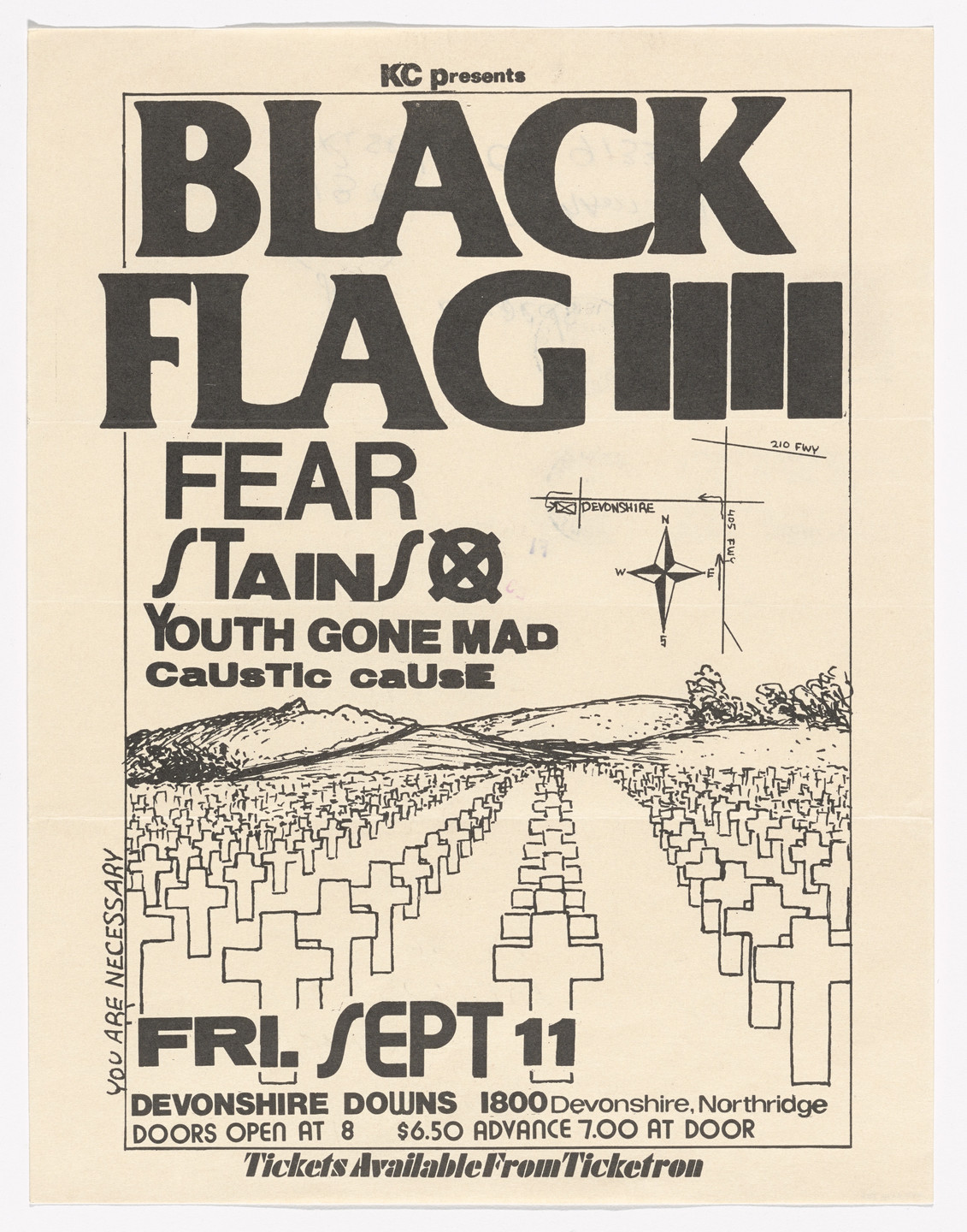Raymond Pettibon. Black Flag at Devonshire Downs. September 11, 1981