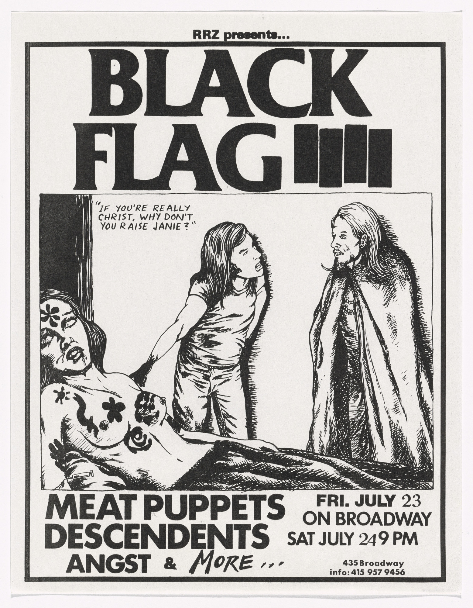 Raymond Pettibon. Black Flag on Broadway. July 23, 1982