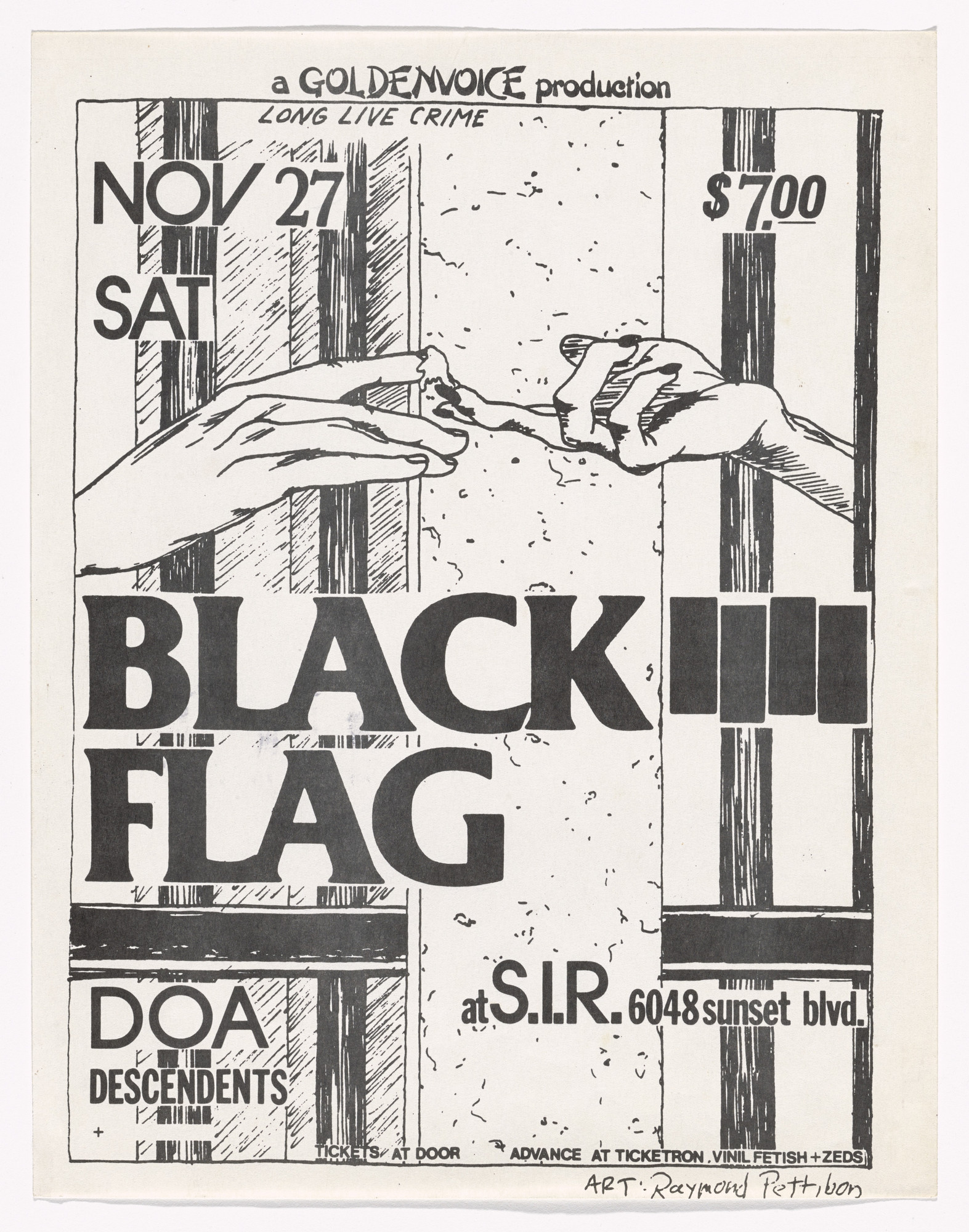 Raymond Pettibon. Black Flag at S.I.R.. November 27, 1982