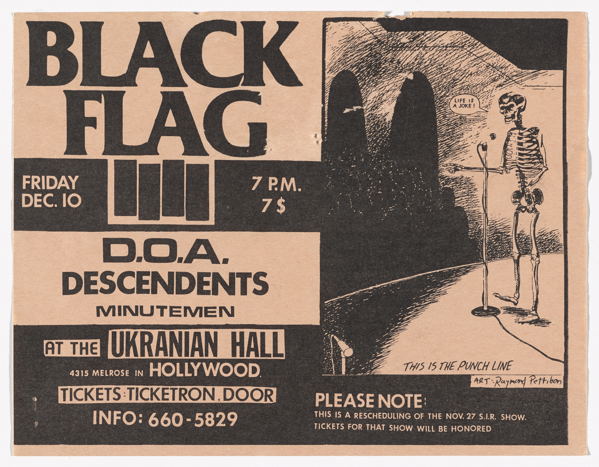 Raymond Pettibon. Black Flag at Ukrainian Hall. December 10, 1982