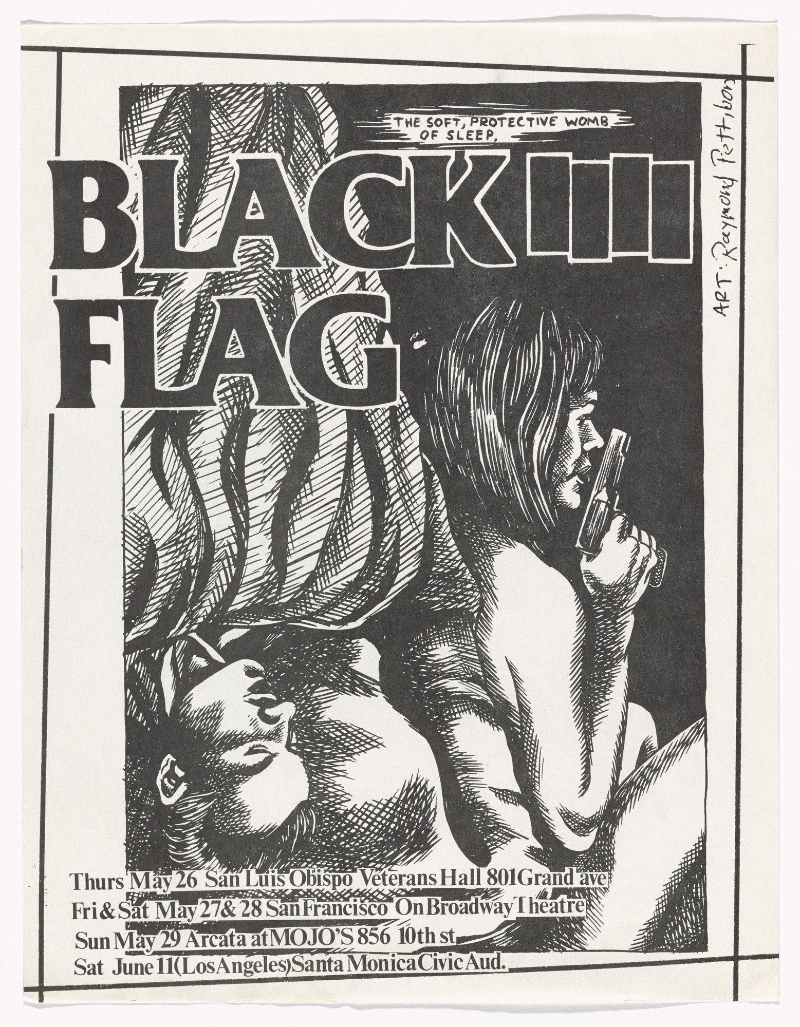 Raymond Pettibon. Black Flag at Veterans Hall. May 26, 1983