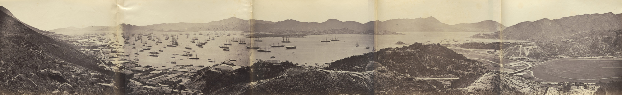 Felice Beato. Panorama of Hong Kong taken from Happy Valley. 1860