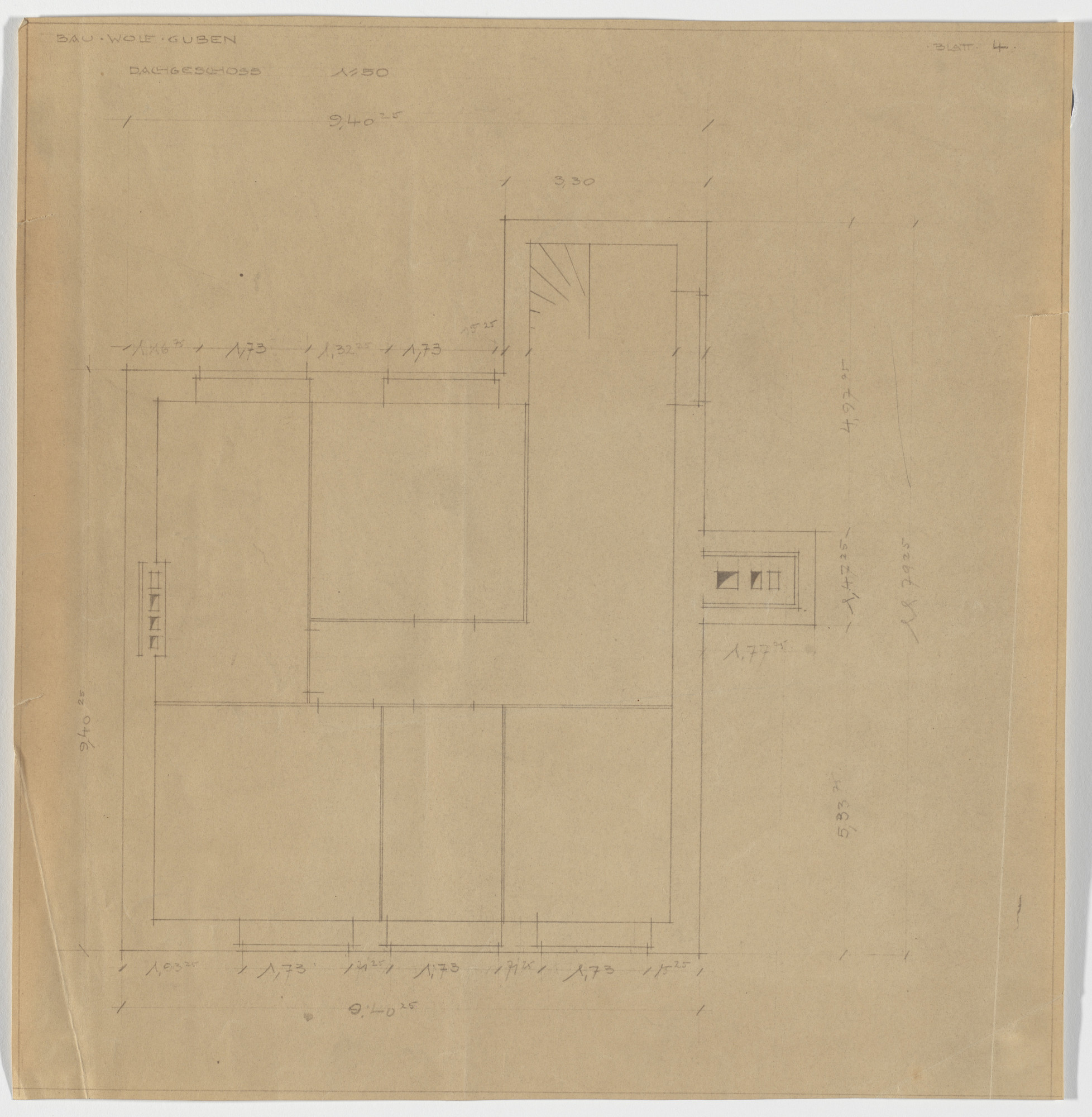 Ludwig Mies van der Rohe. Wolf House, Gubin, Poland (Third floor plan [final version]). 1925-1927