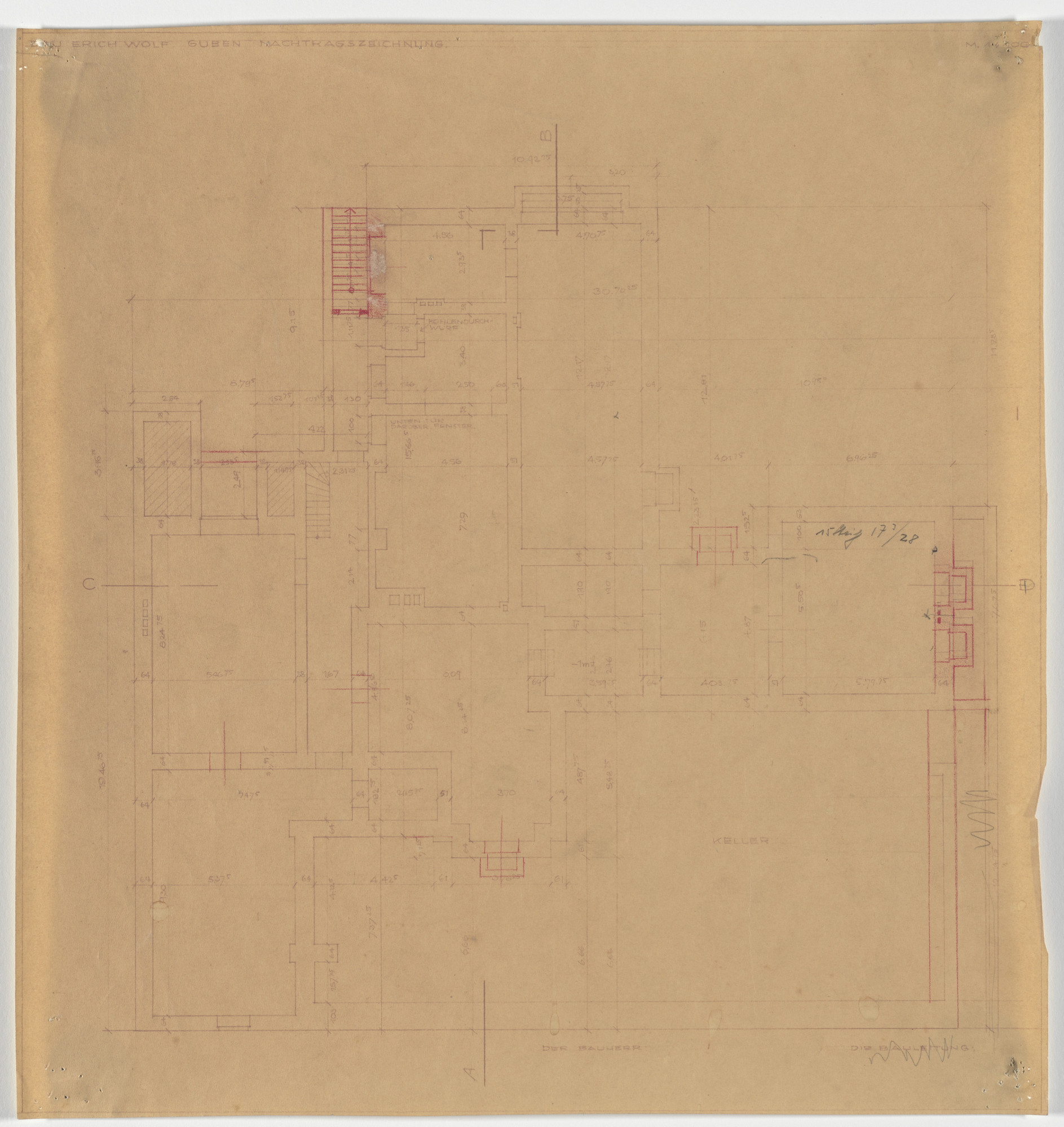 Ludwig Mies van der Rohe. Wolf House, Gubin, Poland (Basement plan [final version]). 1925-1927