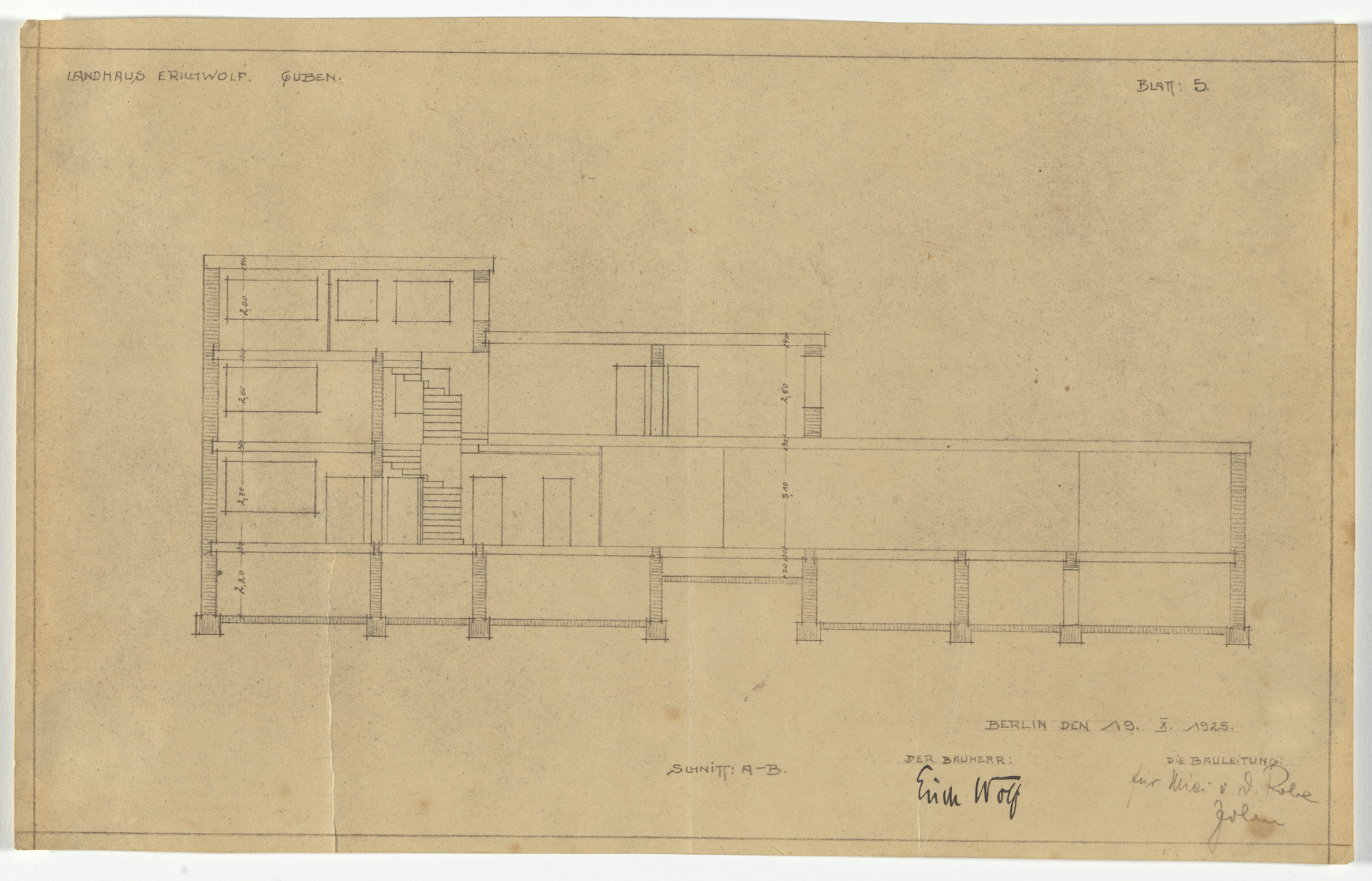 Ludwig Mies van der Rohe. Wolf House, Gubin, Poland (Section: all floors). 1925-1927