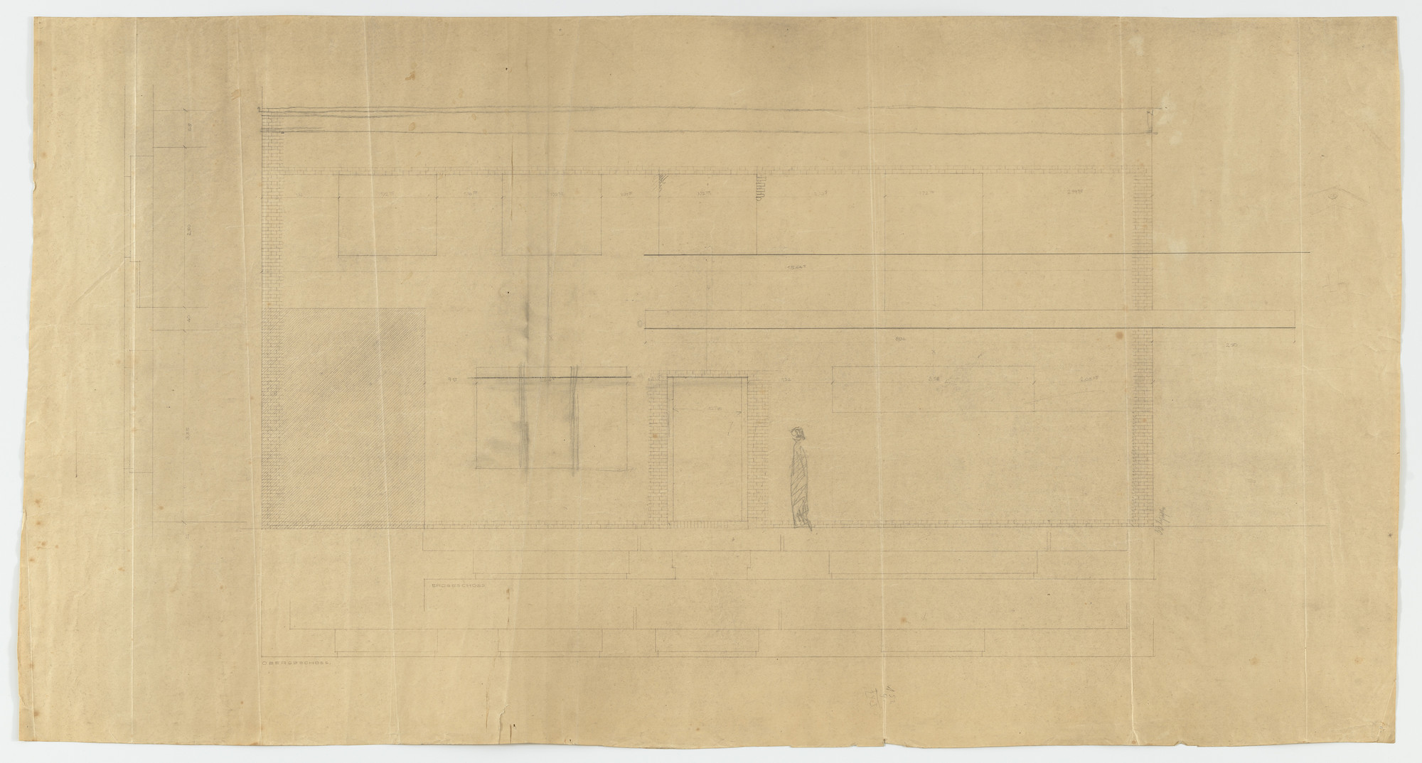 Ludwig Mies van der Rohe. Wolf House, Gubin, Poland (Elevation, plans, section. Ground, second floor and right half of east side). 1925-1927