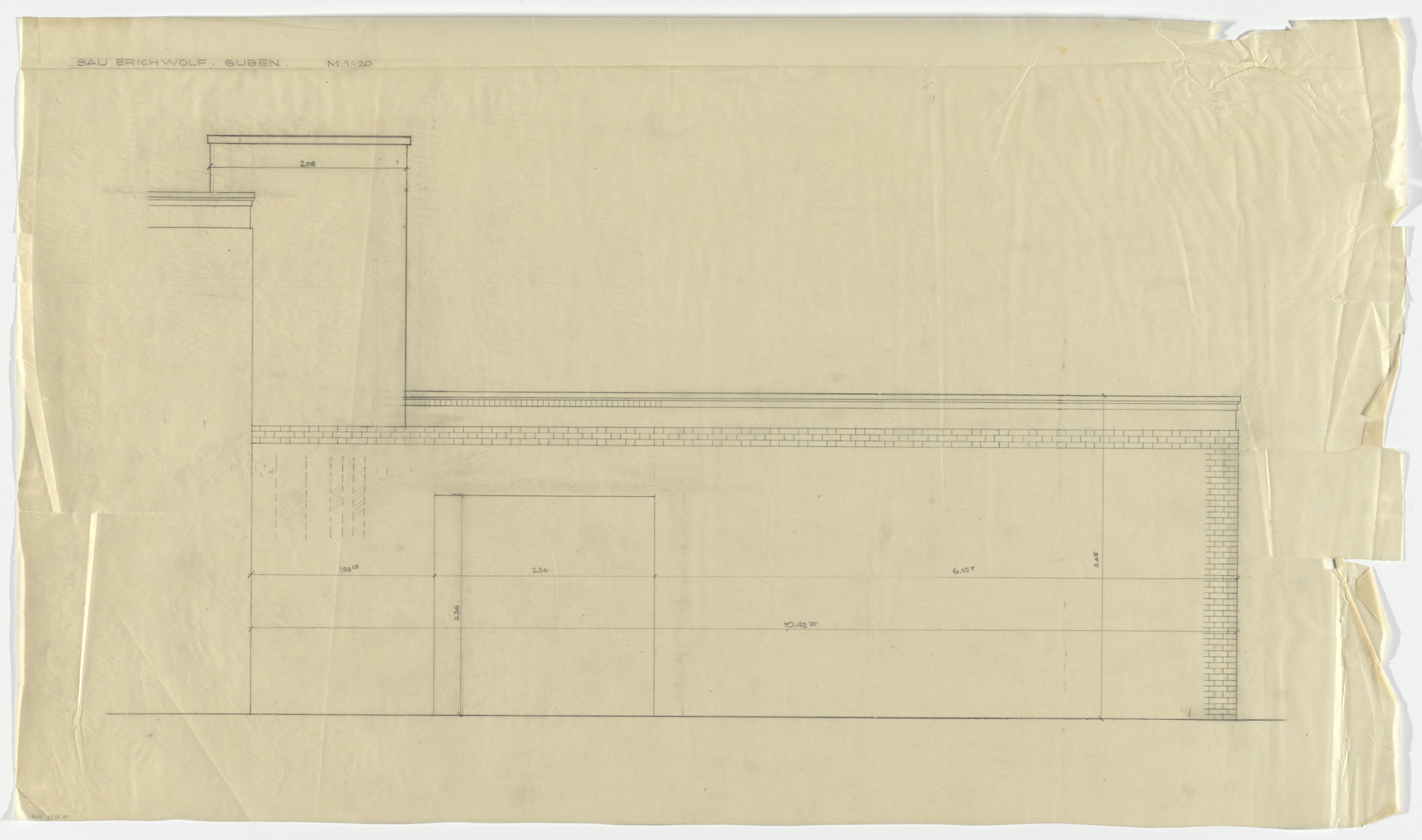 Ludwig Mies van der Rohe. Wolf House, Gubin, Poland (South wall elevation). 1925-1927