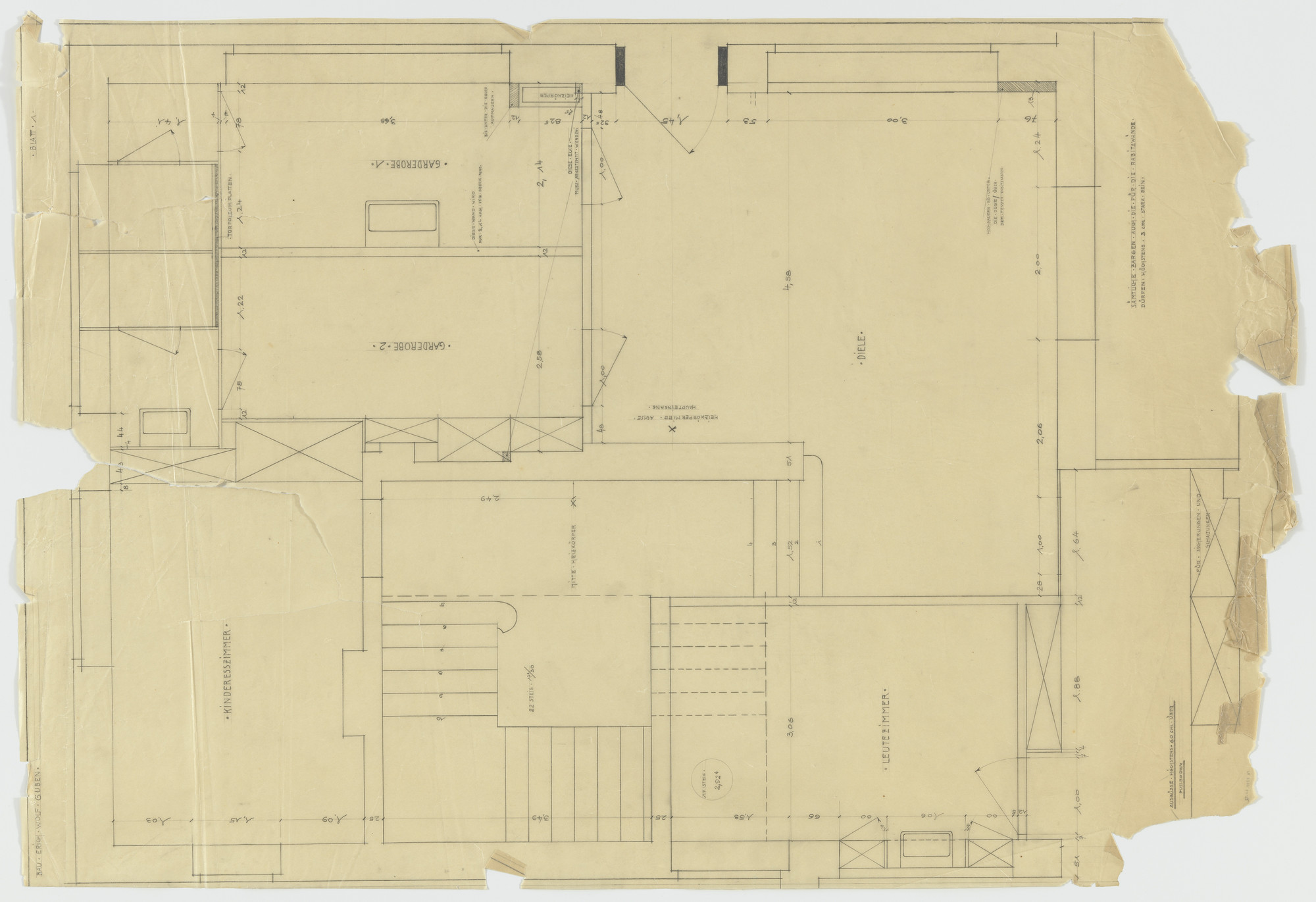 Ludwig Mies van der Rohe. Wolf House, Gubin, Poland (Plan: ground floor entrance area). 1925-1927