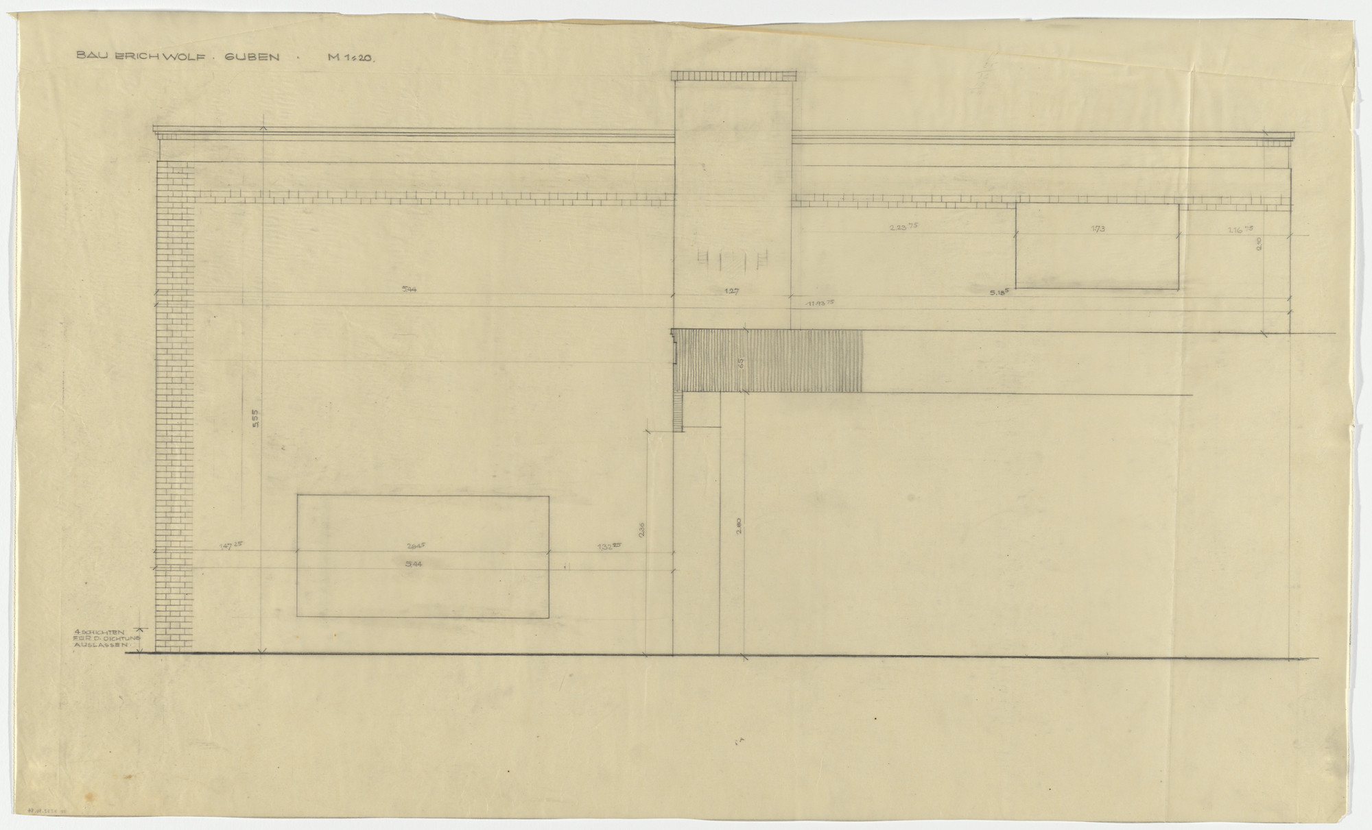 Ludwig Mies van der Rohe. Wolf House, Gubin, Poland (Elevation: second and third floors). 1925-1927