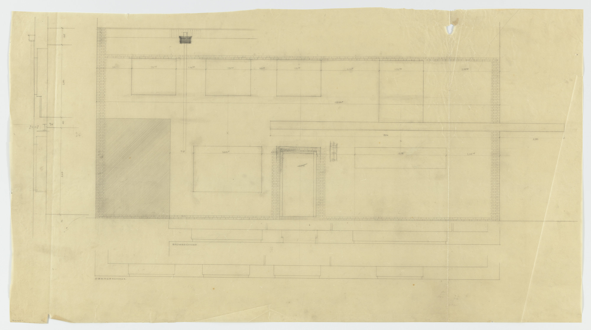 Ludwig Mies van der Rohe. Wolf House, Gubin, Poland (Elevation and plans: ground and second floors). 1925-1927