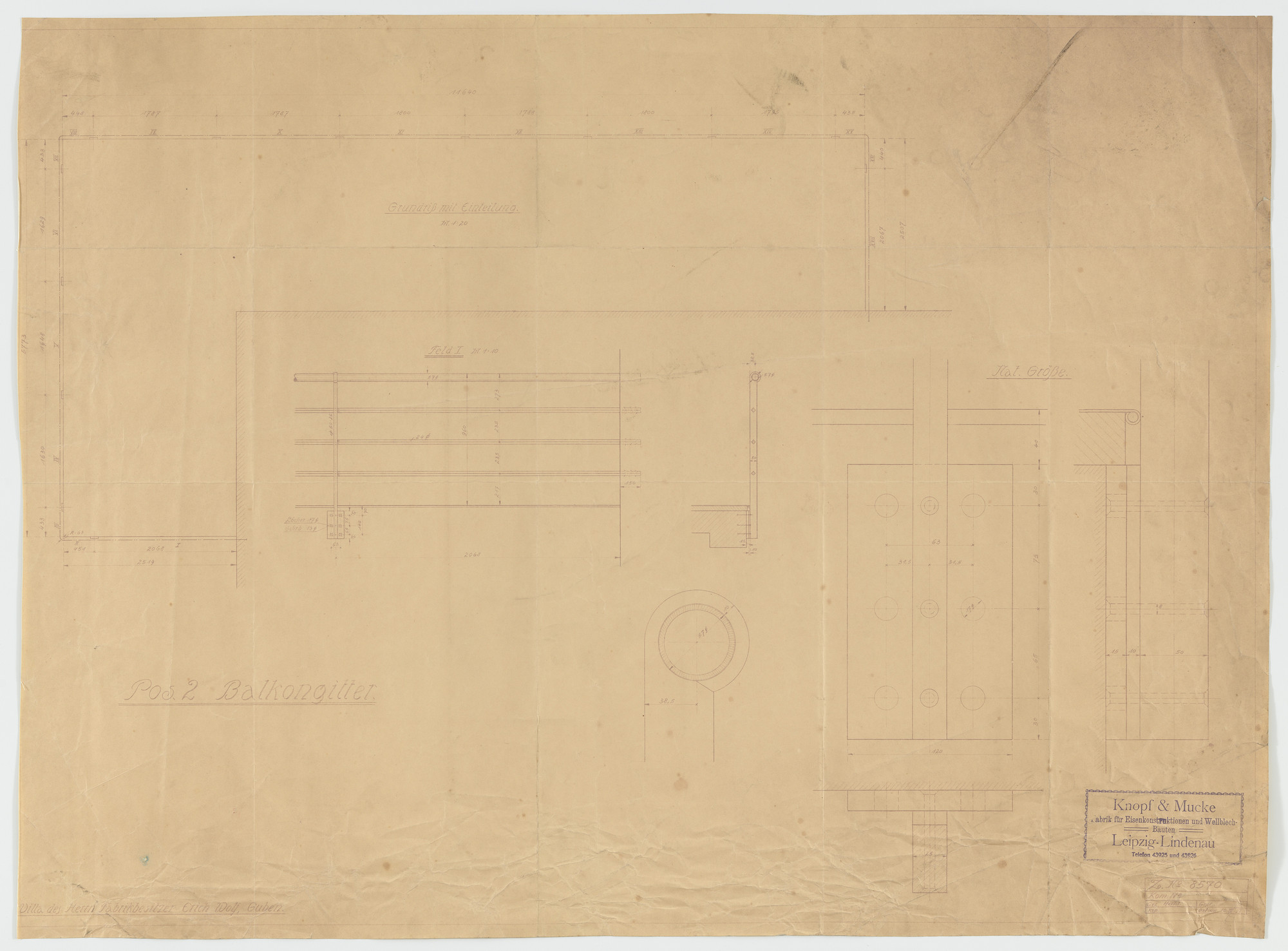 Ludwig Mies van der Rohe. Wolf House, Gubin, Poland (Sections and plan: balcony railing). 1925-1927