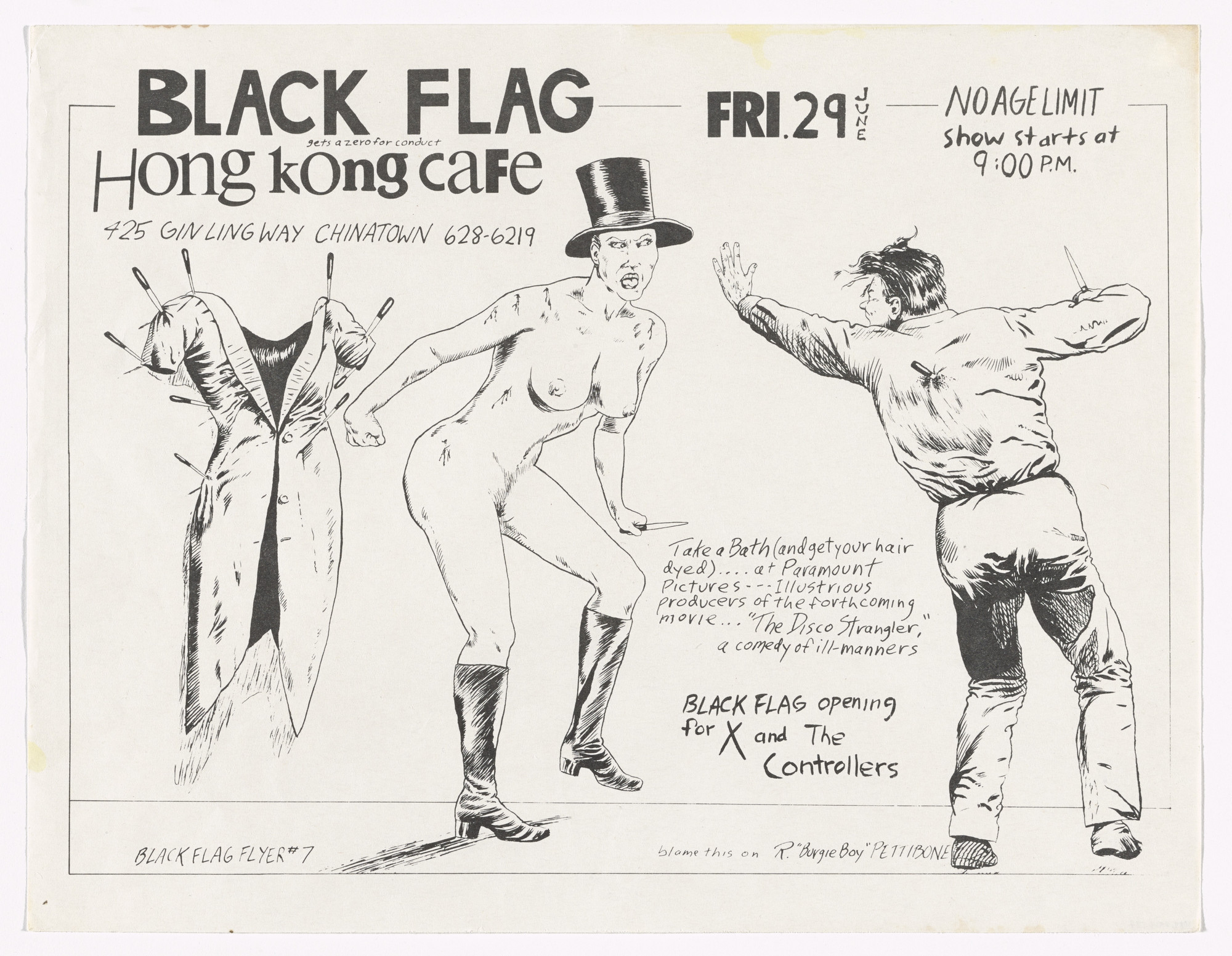 Raymond Pettibon. Black Flag at Hong Kong Cafe. June 29, 1979